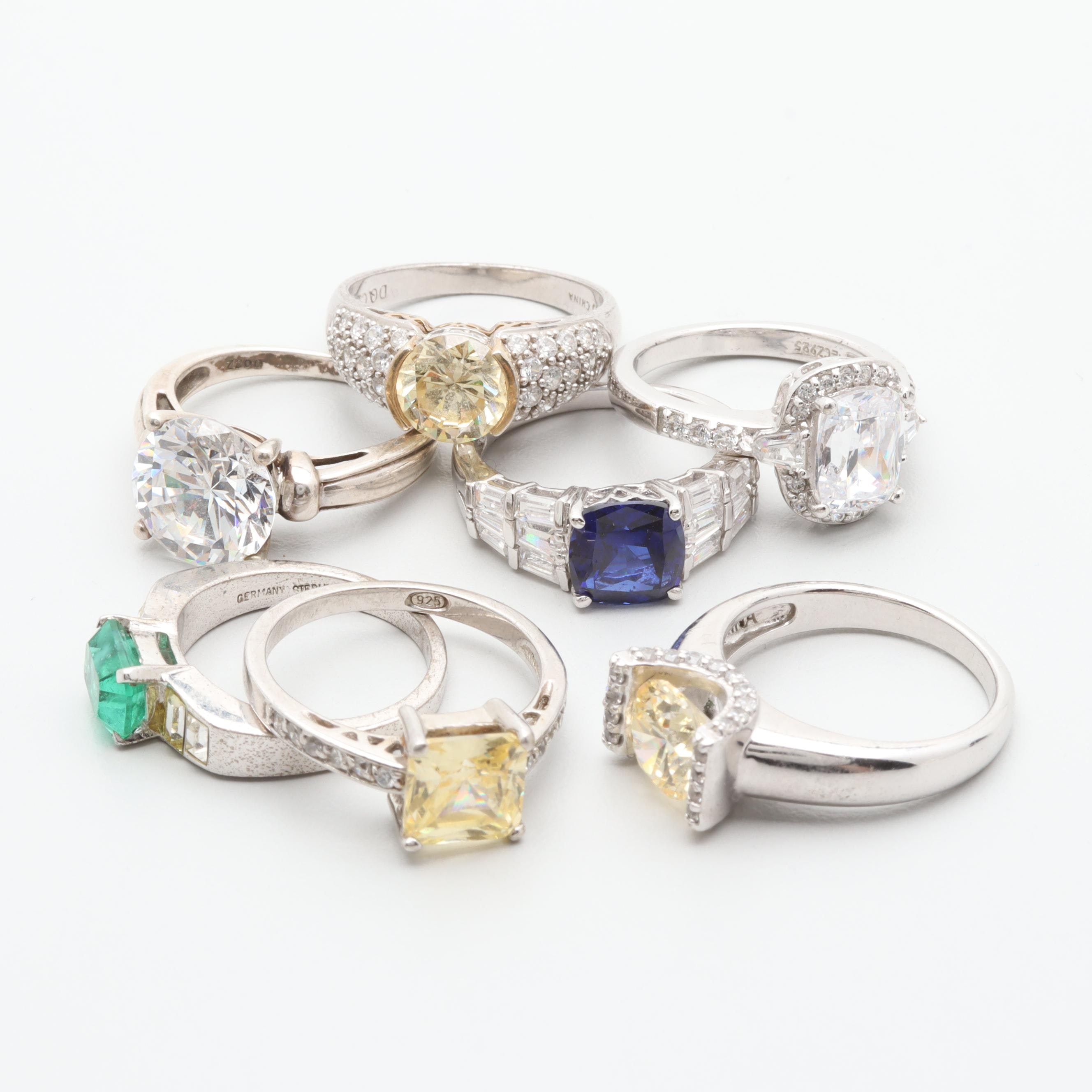 Sterling Silver Ring Assortment Including Cubic Zirconia and Synthetic Sapphire