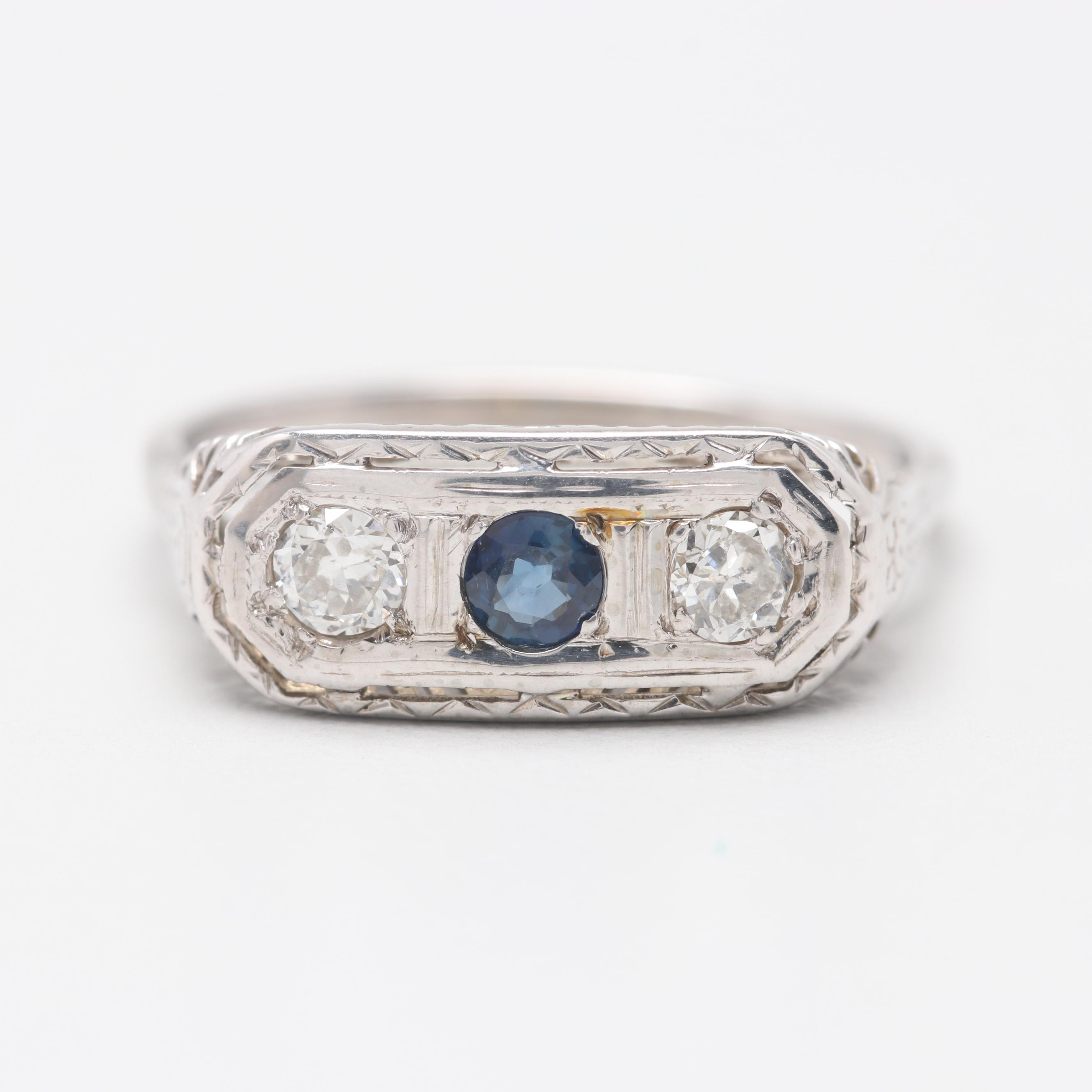 Art Deco 14K and 18K White Gold Blue Sapphire and Diamond Ring