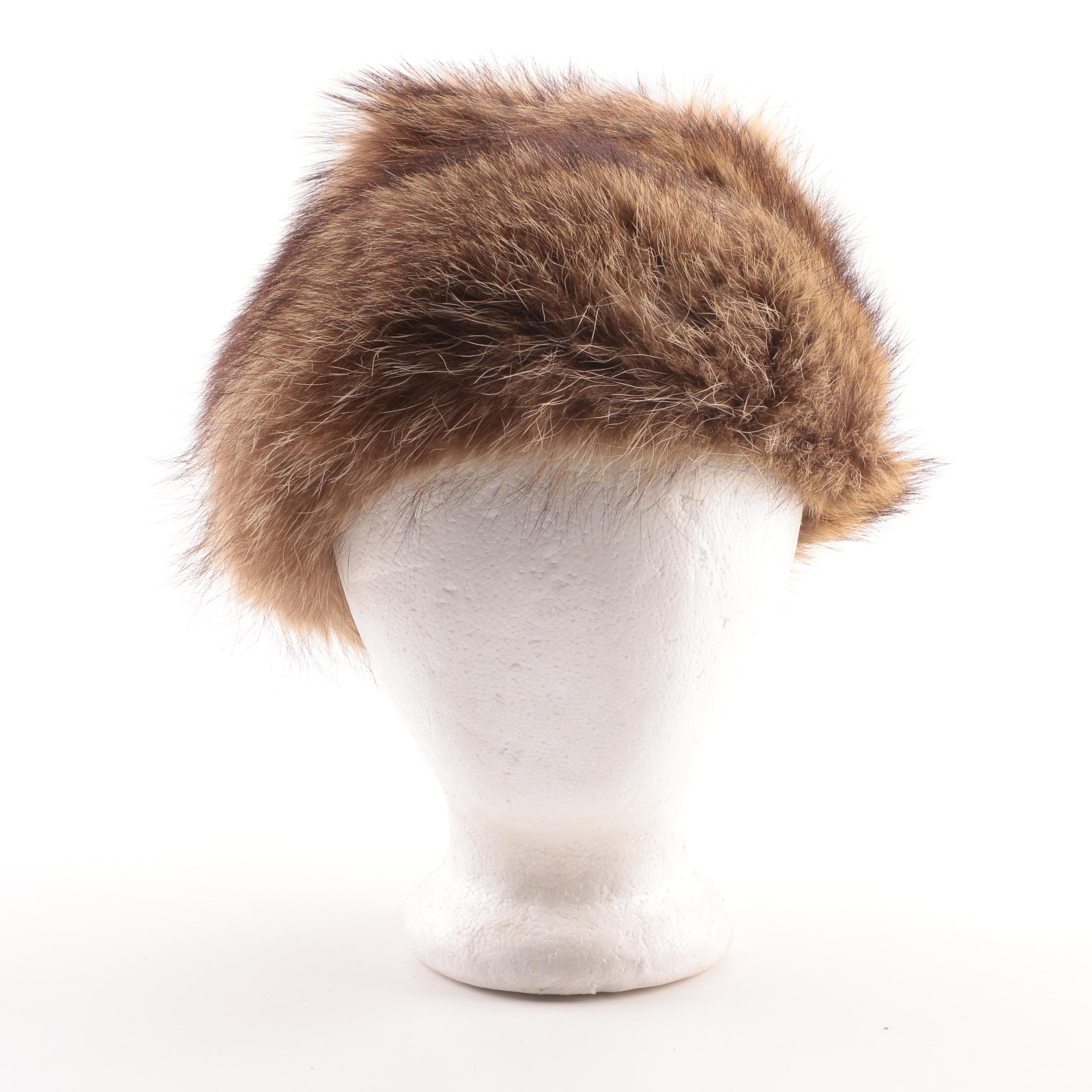 Women's Vintage Marshall Fields & Company Brown Raccoon Fur Hat