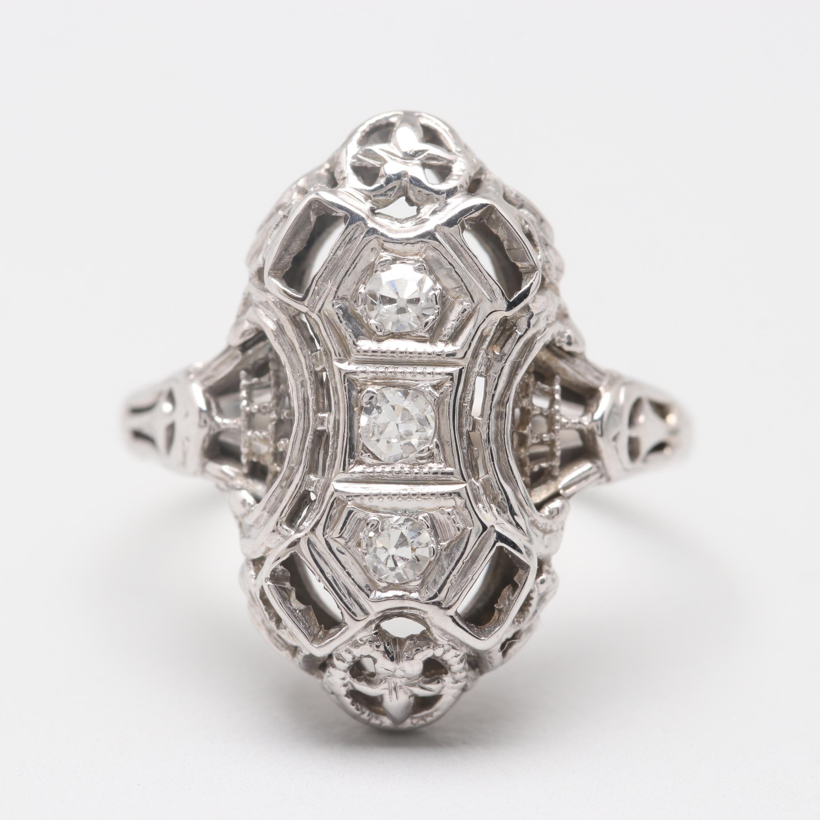 Art Deco 18K White Gold Diamond Dinner Ring