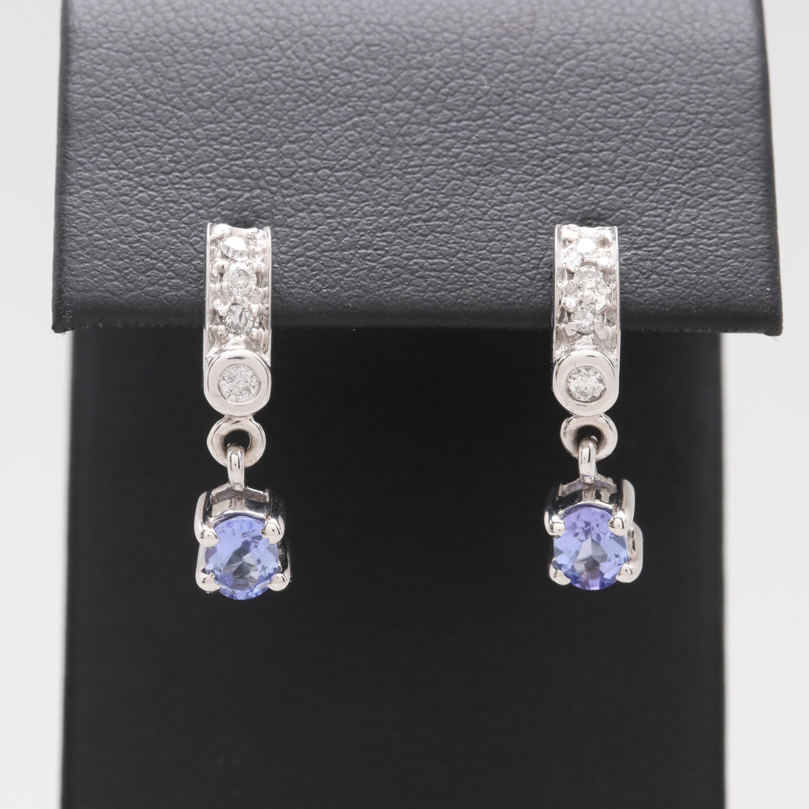 14K White Gold Tanzanite and Diamond Earrings
