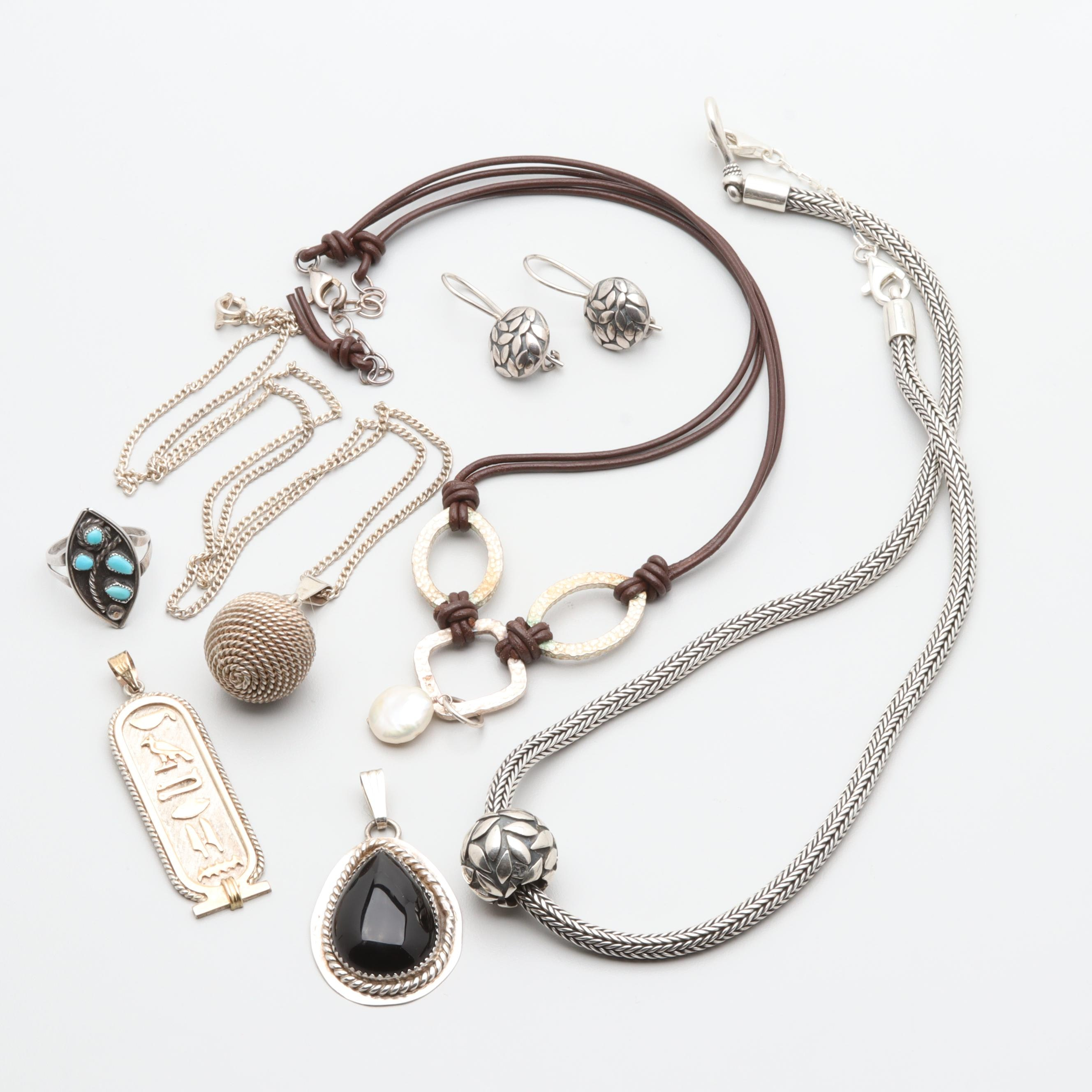 Sterling Silver Jewelry Assortment Including Black Onyx, Cultured Pearl and More