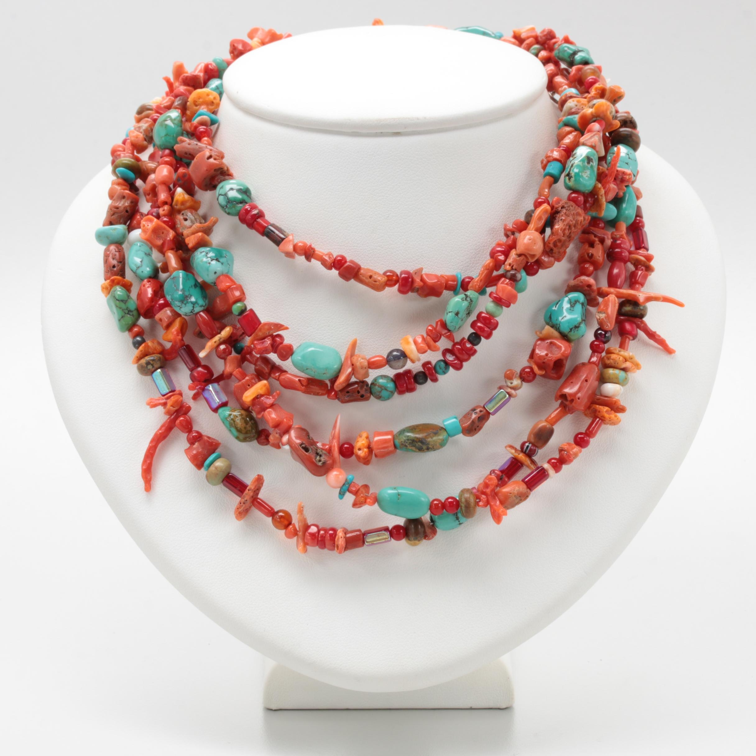 Sterling Silver Coral, Turquoise and Glass Necklace