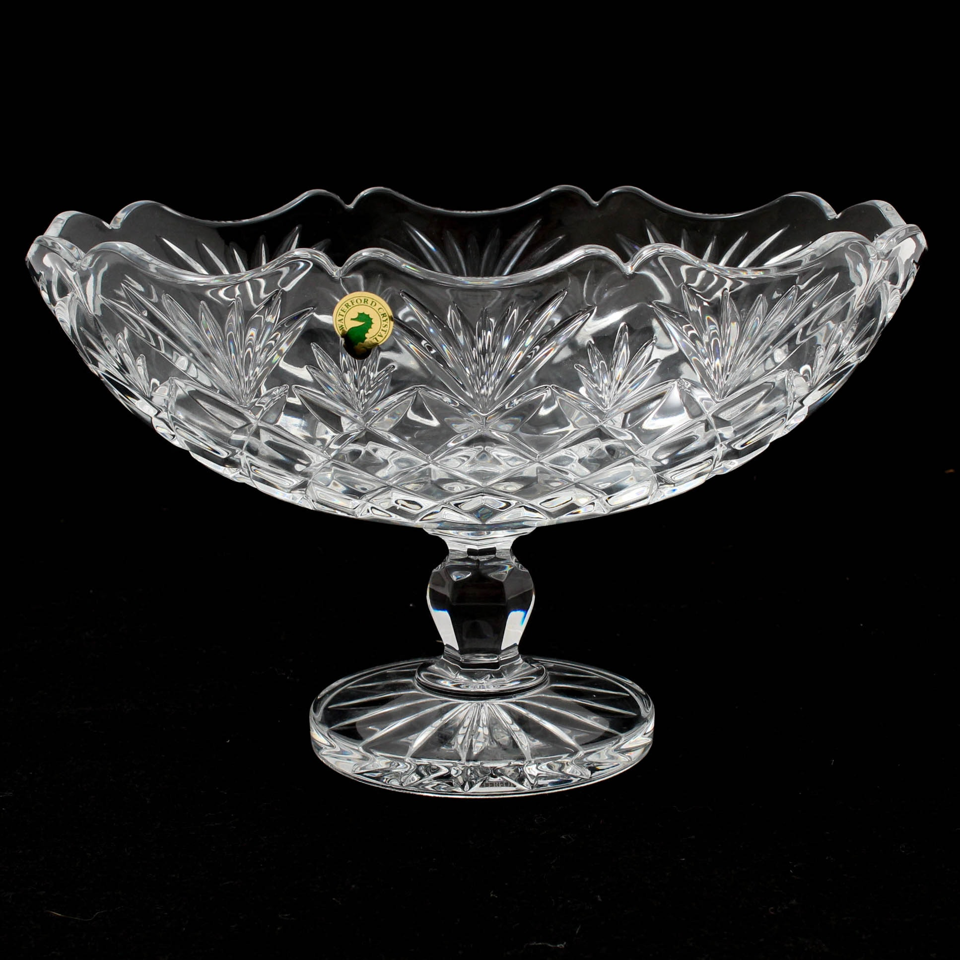 Waterford Crystal Tom Brennan Signed Artisan Collection Scalloped Boat Bowl