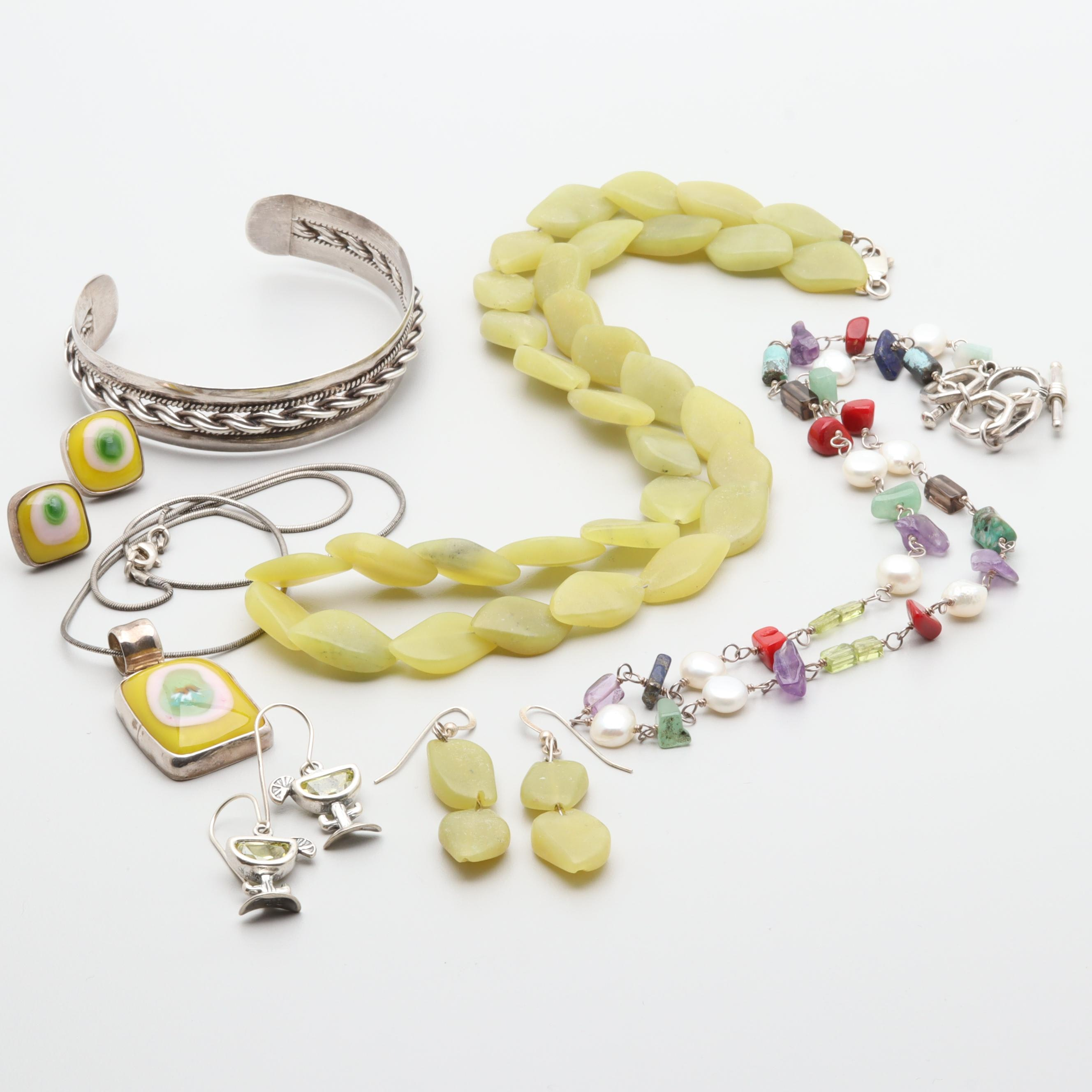 Sterling Silver and 950 Silver Jewelry Assortment Including Mixed Gemstones.