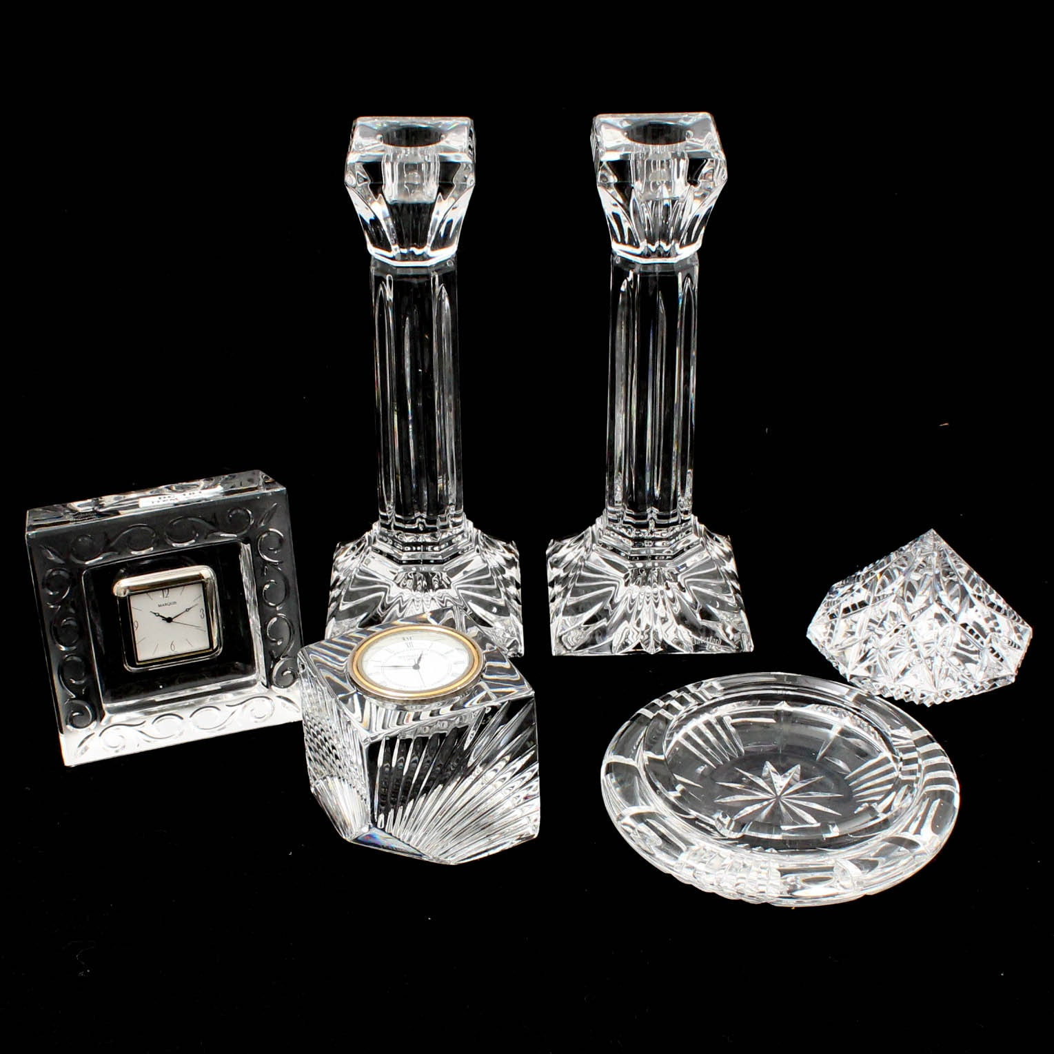"""Waterford Crystal """"Lismore"""" Candlesticks, Clocks, Paperweight, and Ashtray"""