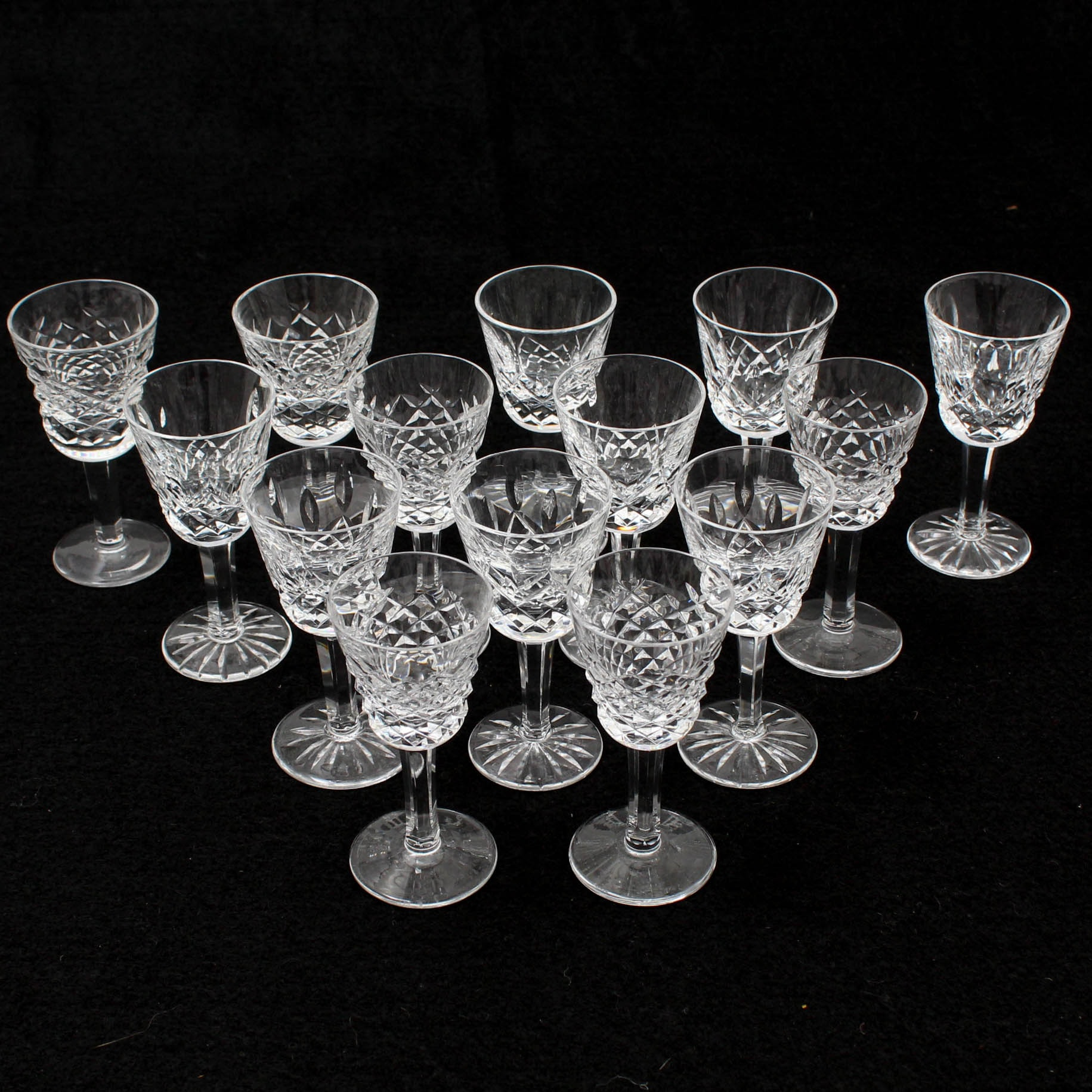 "Fourteen Waterford Crystal ""Alana"" Cordial Glasses"