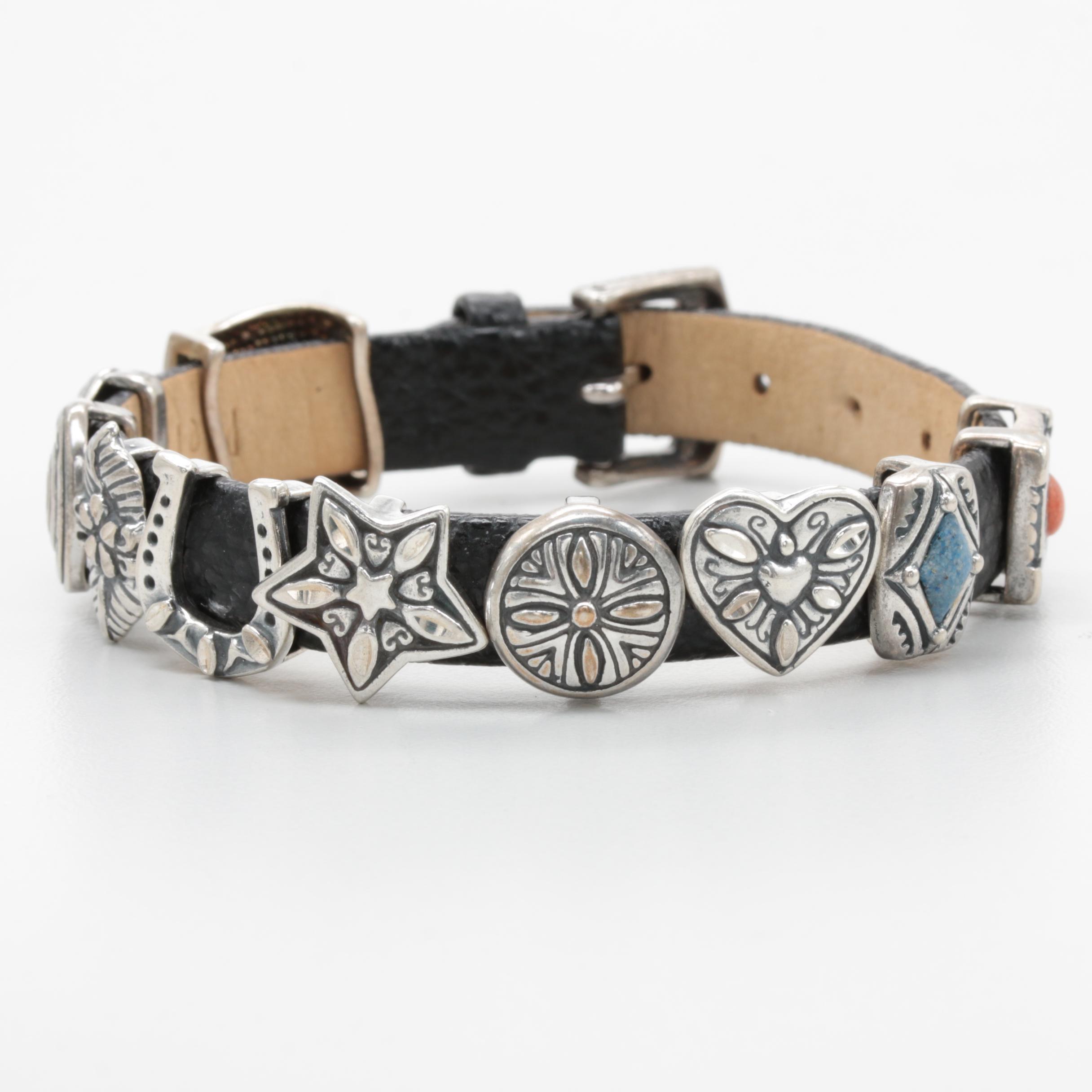 Southwestern Style Sterling Silver and Leather Slide Charm Bracelet