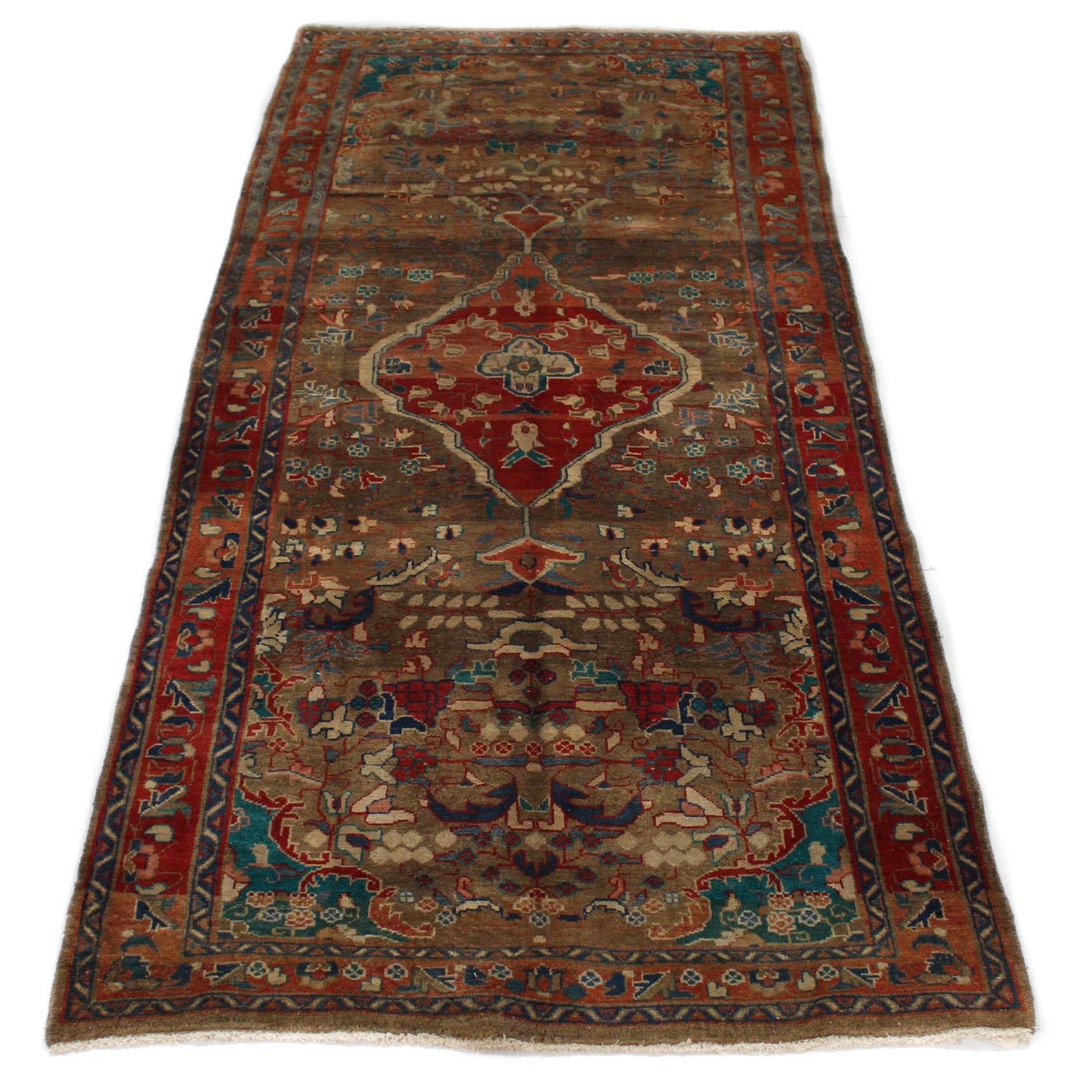 Semi-Antique Hand-Knotted Persian Bijar Long Rug