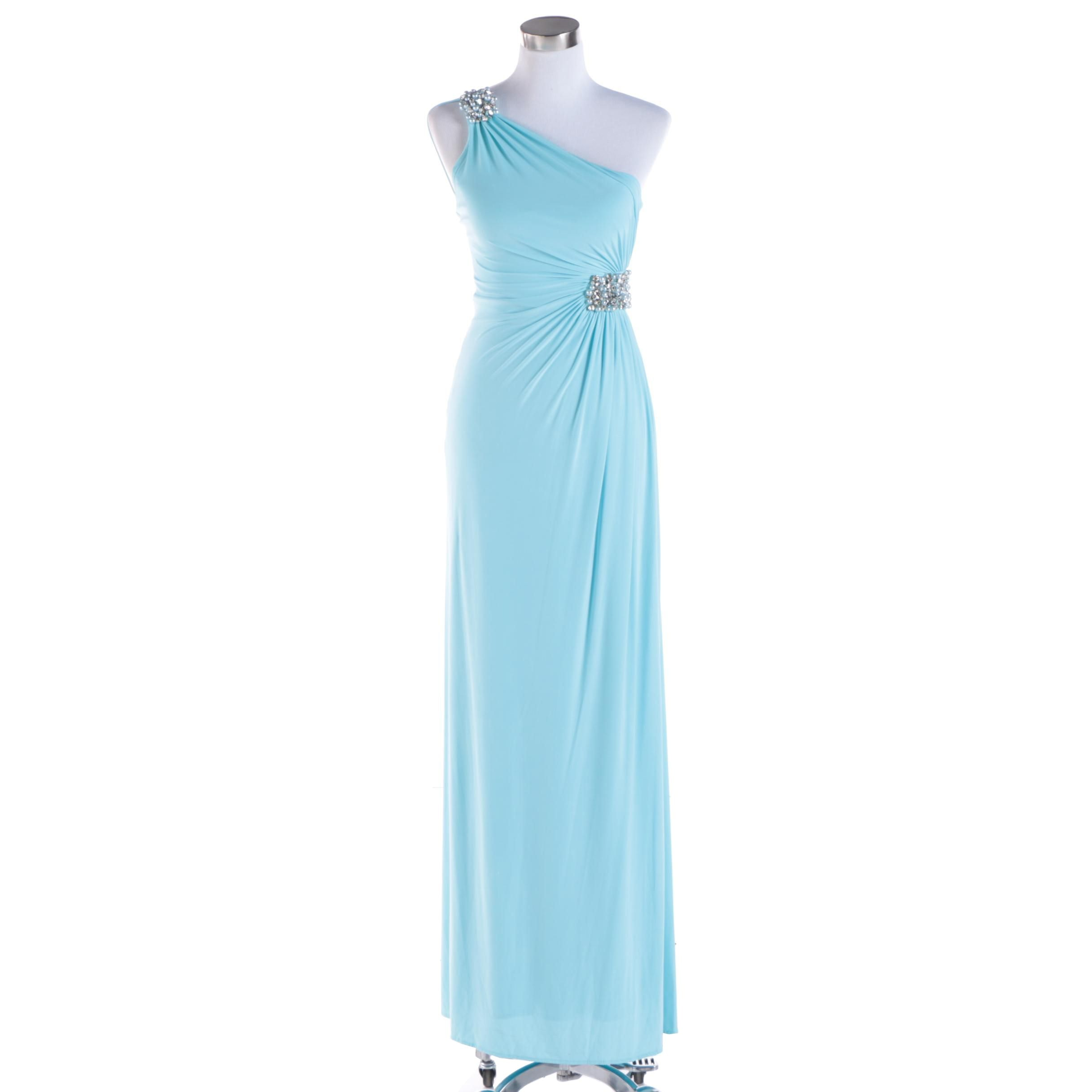 Caché Light Blue Bead Accented One-Shoulder Gown