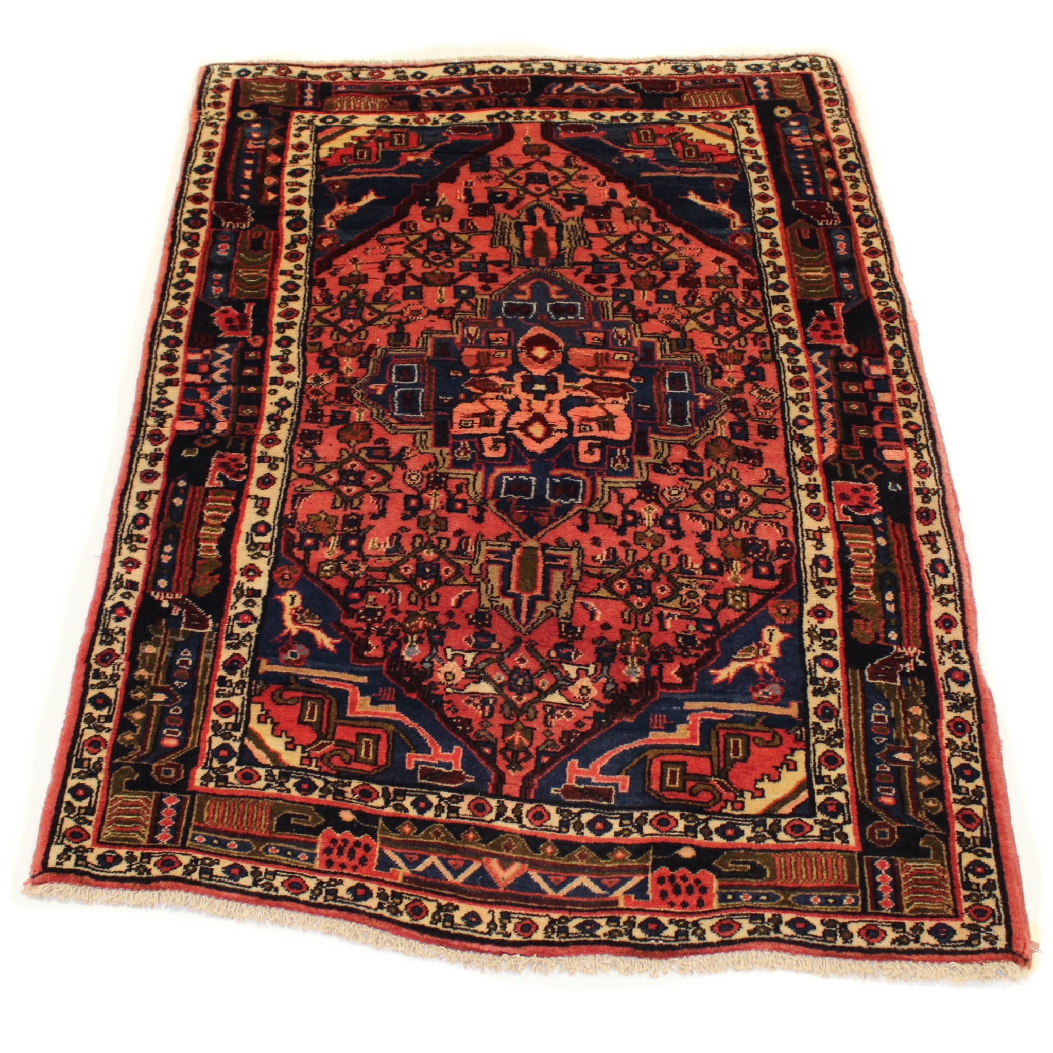 Semi-Antique Hand-Knotted Persian Heriz Rug