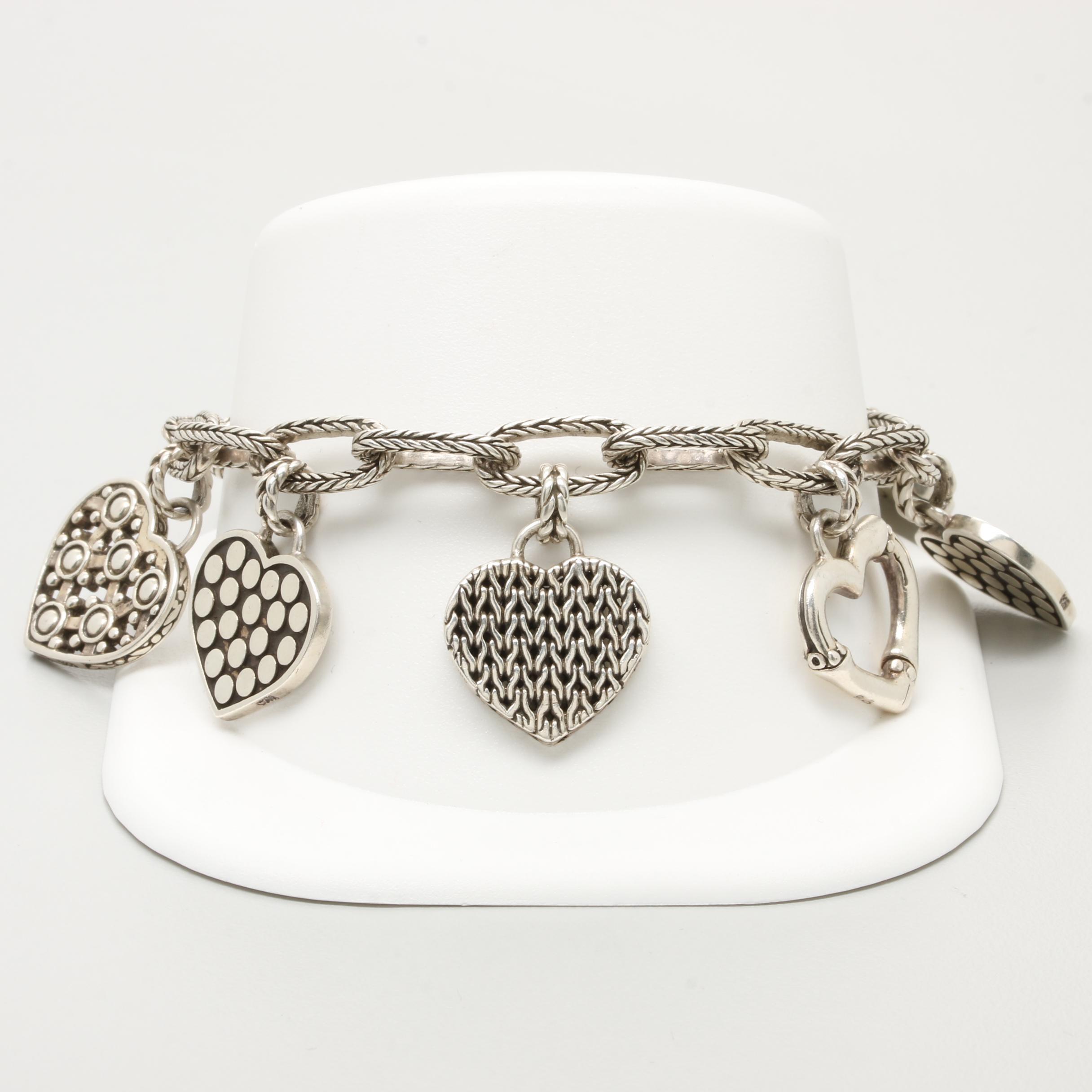 John Hardy Sterling Silver Hearts Charm Bracelet