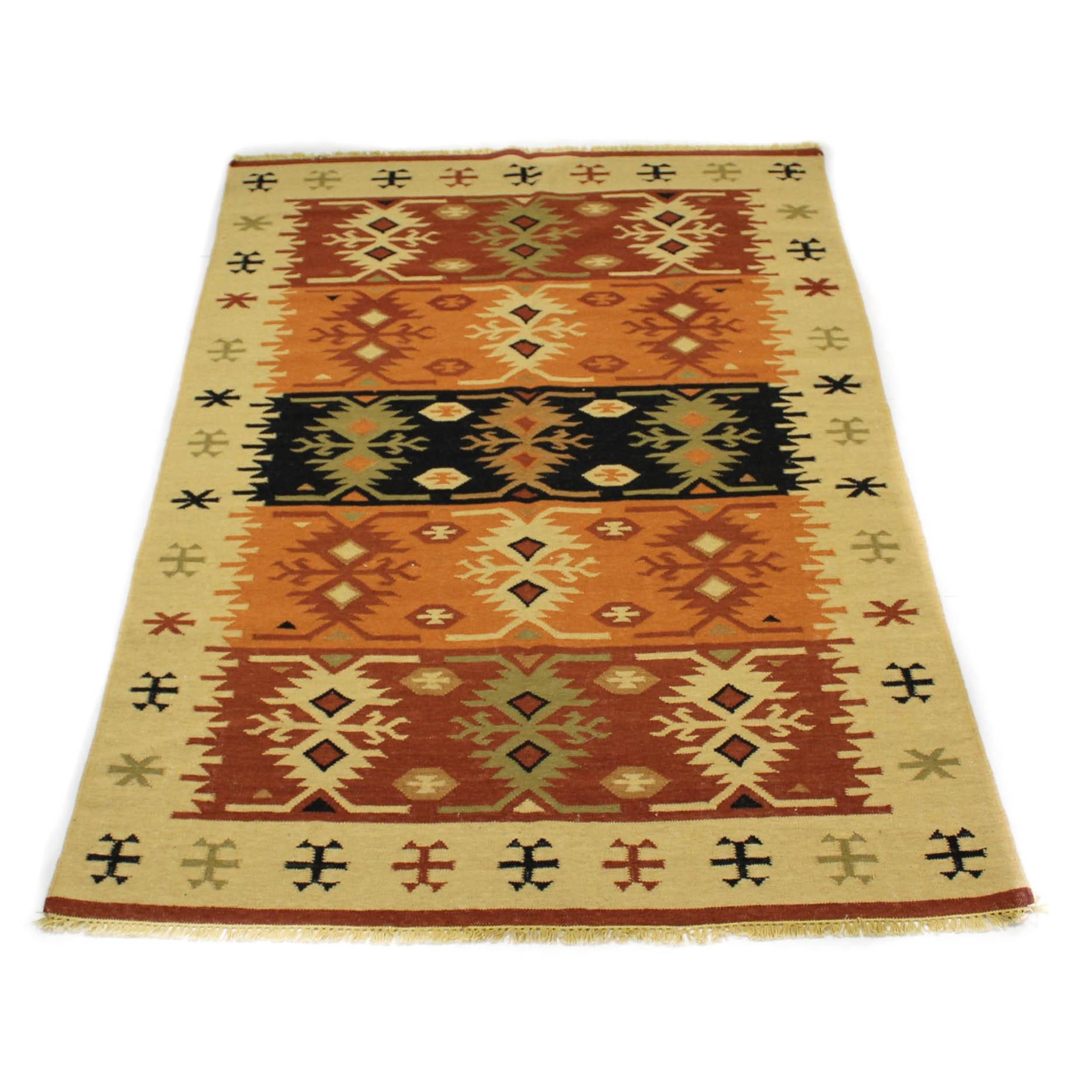 Hand-Woven Indo-Turkish Kilim Rug