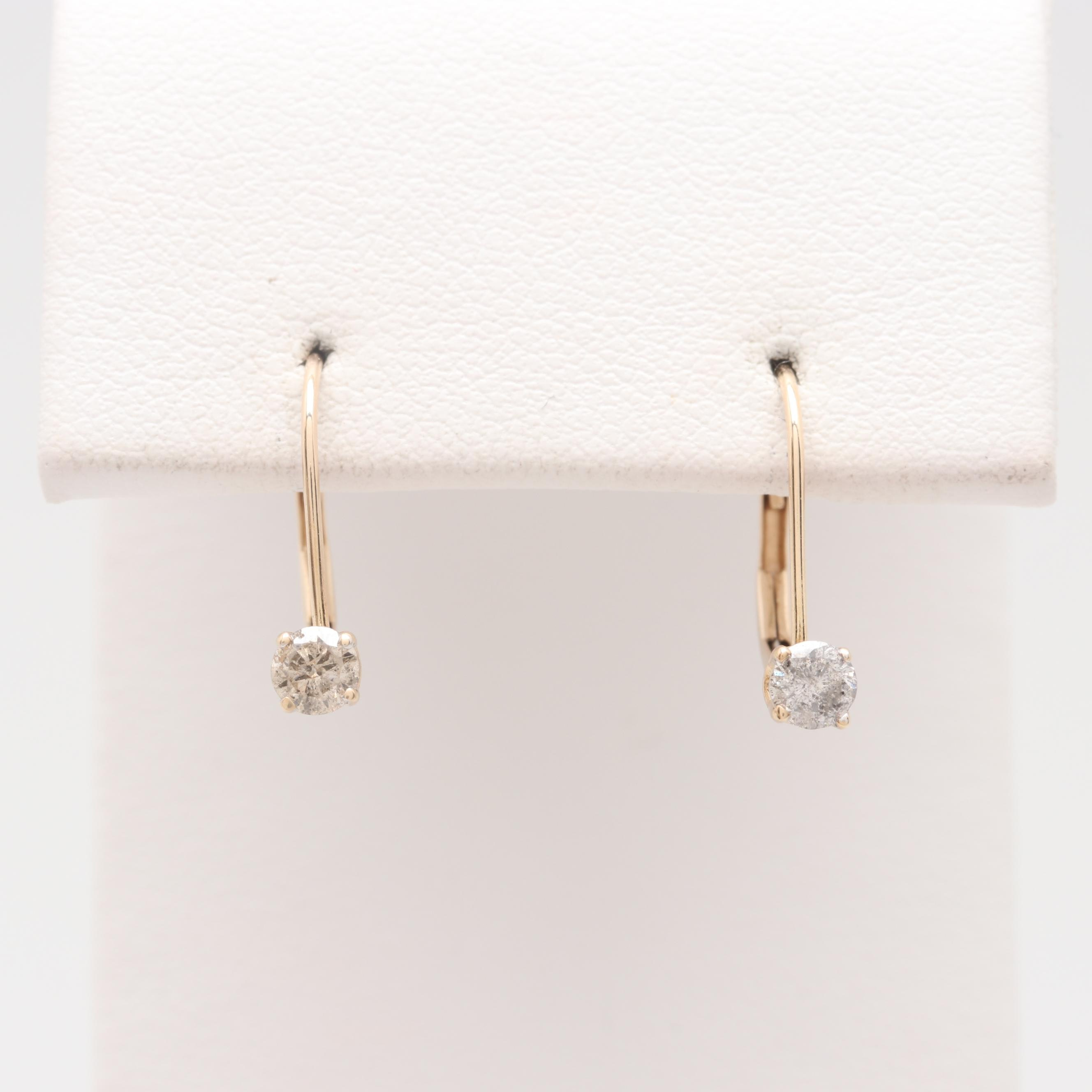 10K Yellow Gold Diamond Leverback Earrings