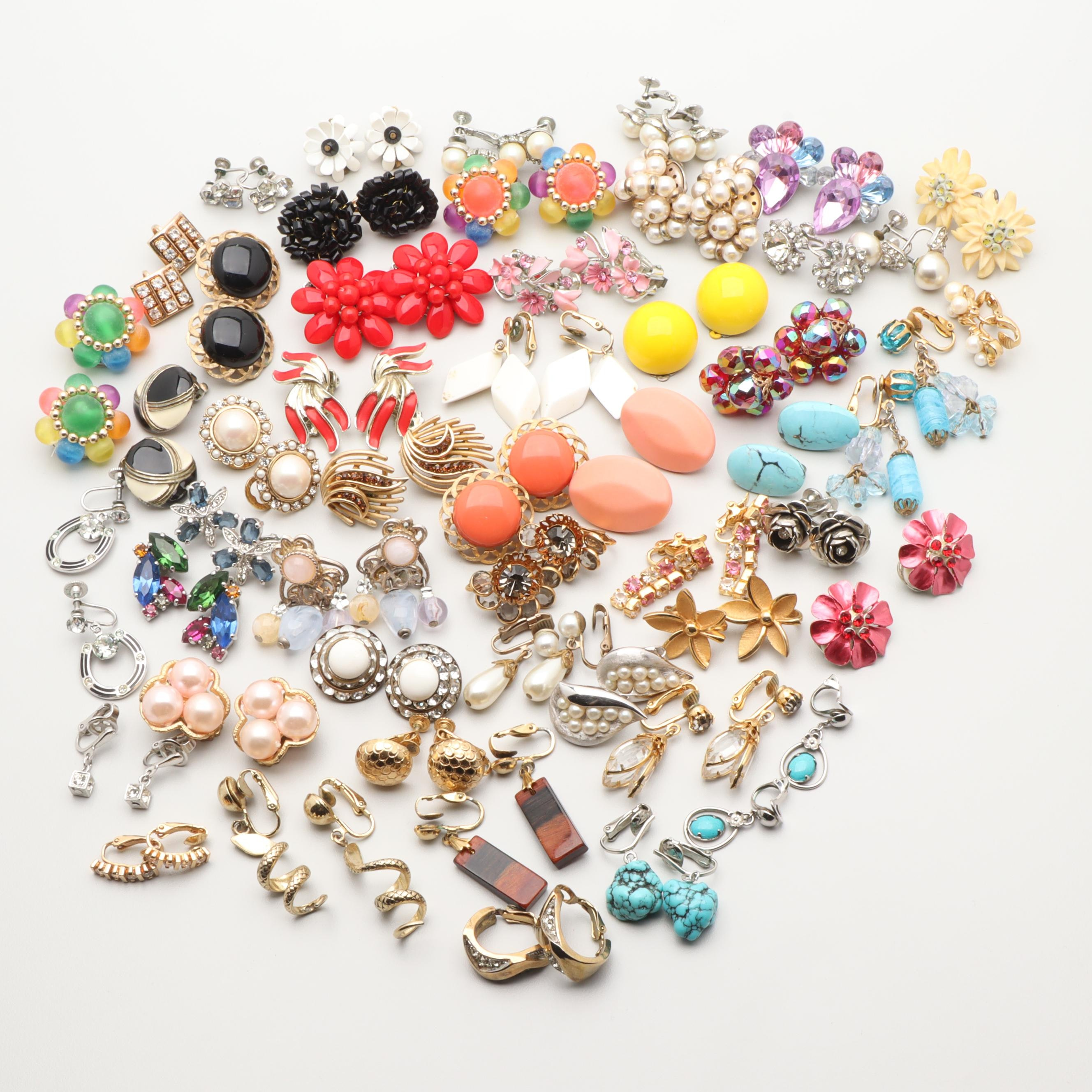 Generous Assortment of Earrings Including Sterling Silver and Imitation Pearls