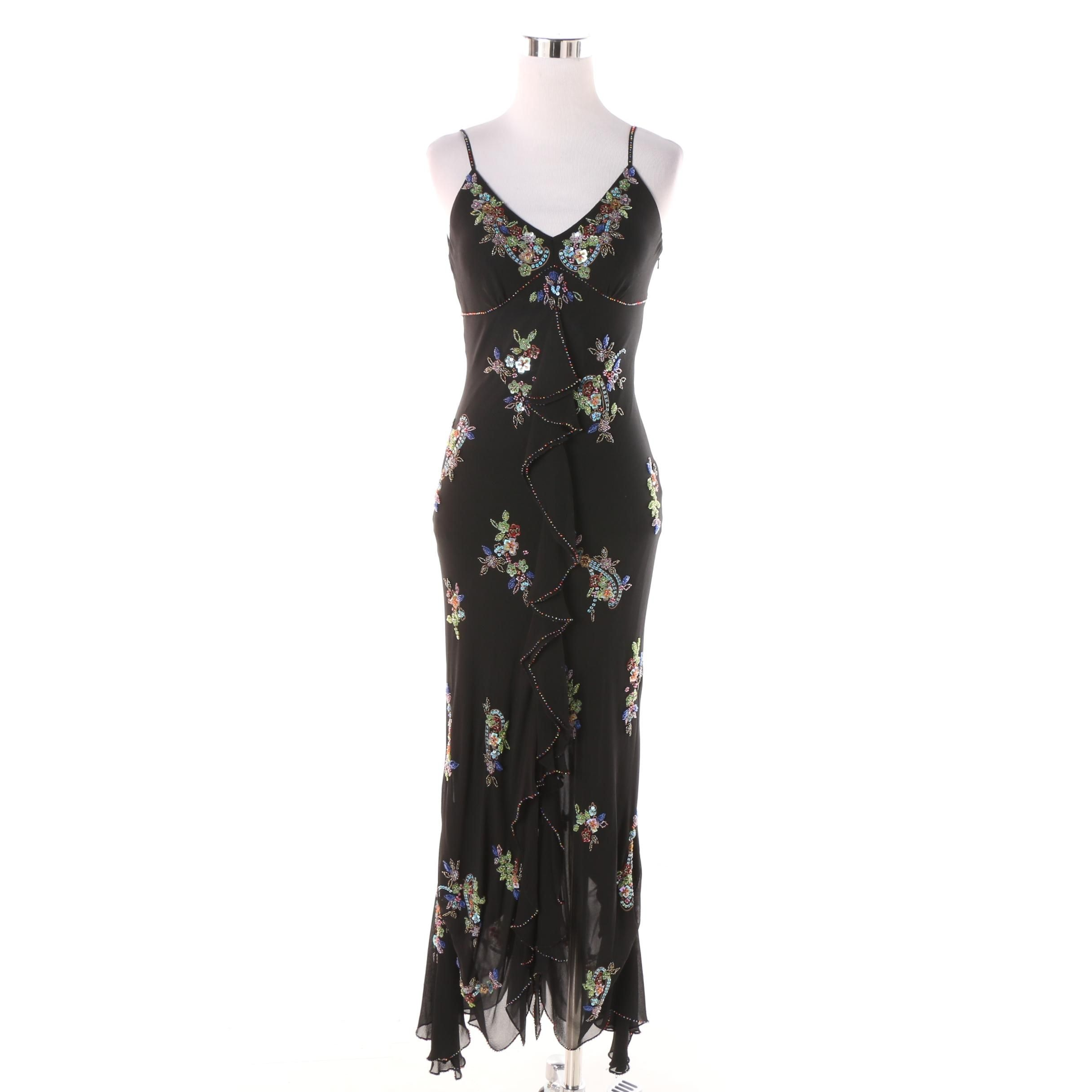Sue Wong Nocturne Black Silk Multicolor Sequin and Beaded Cocktail Dress