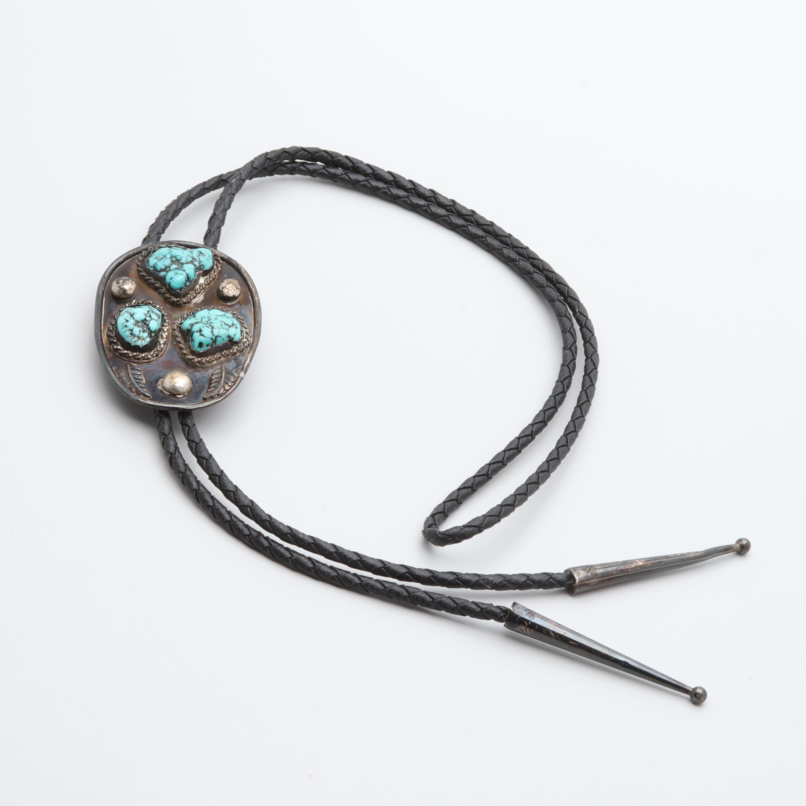 Southwestern Style Sterling Silver Turquoise Bolo Tie