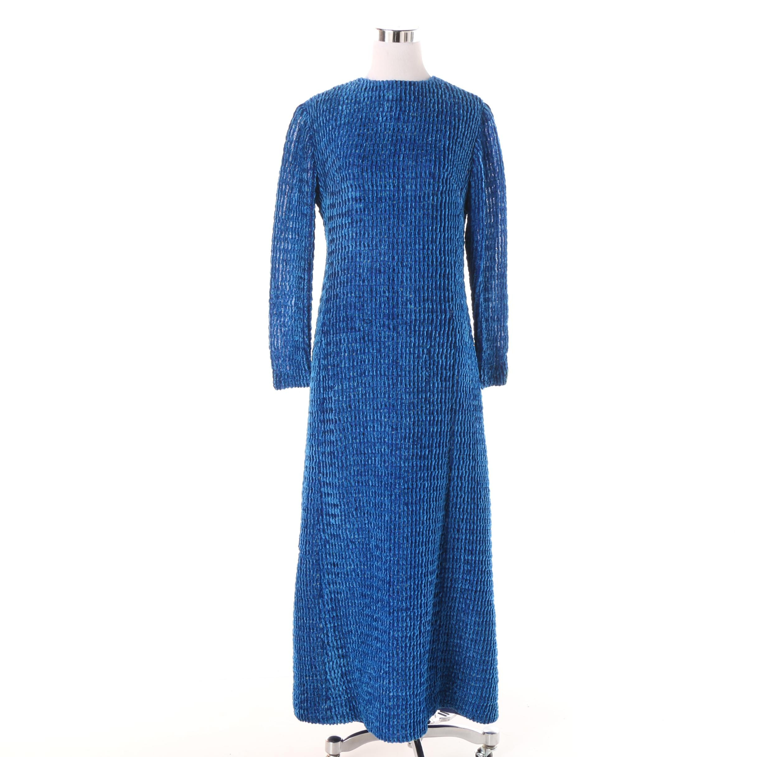 Circa 1970s Vintage Blue Ribbed Chenille Evening Dress