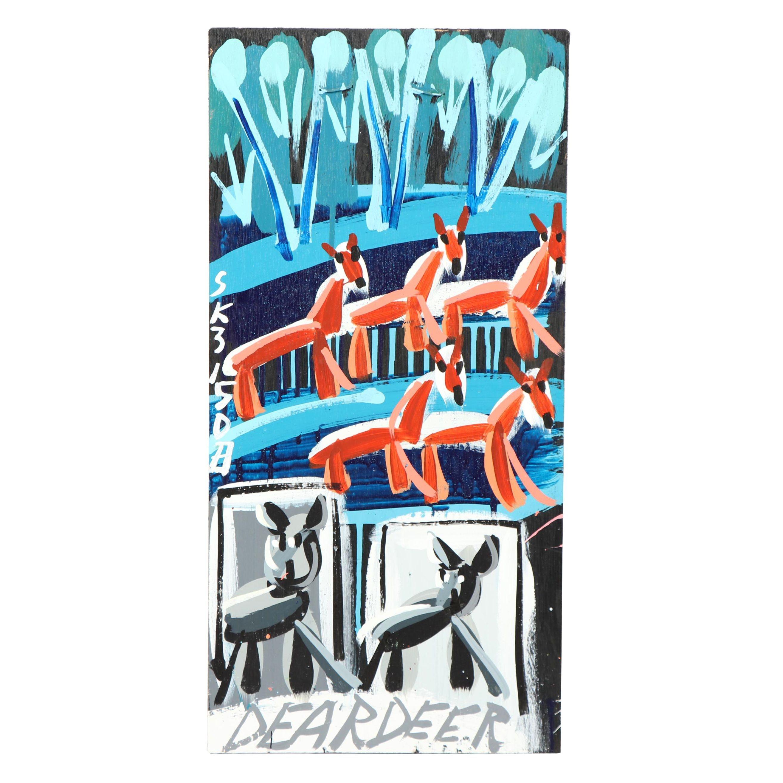 """Steve Keene Acrylic Painting """"Dear Deer"""""""