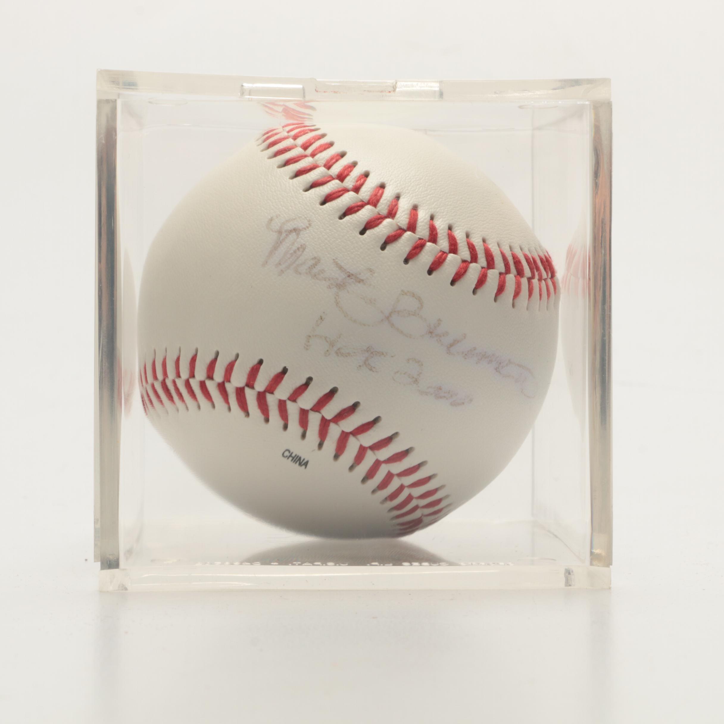 "Marty Brennaman Signed Rawlings ""HOF 2000"" Baseball In Holder"