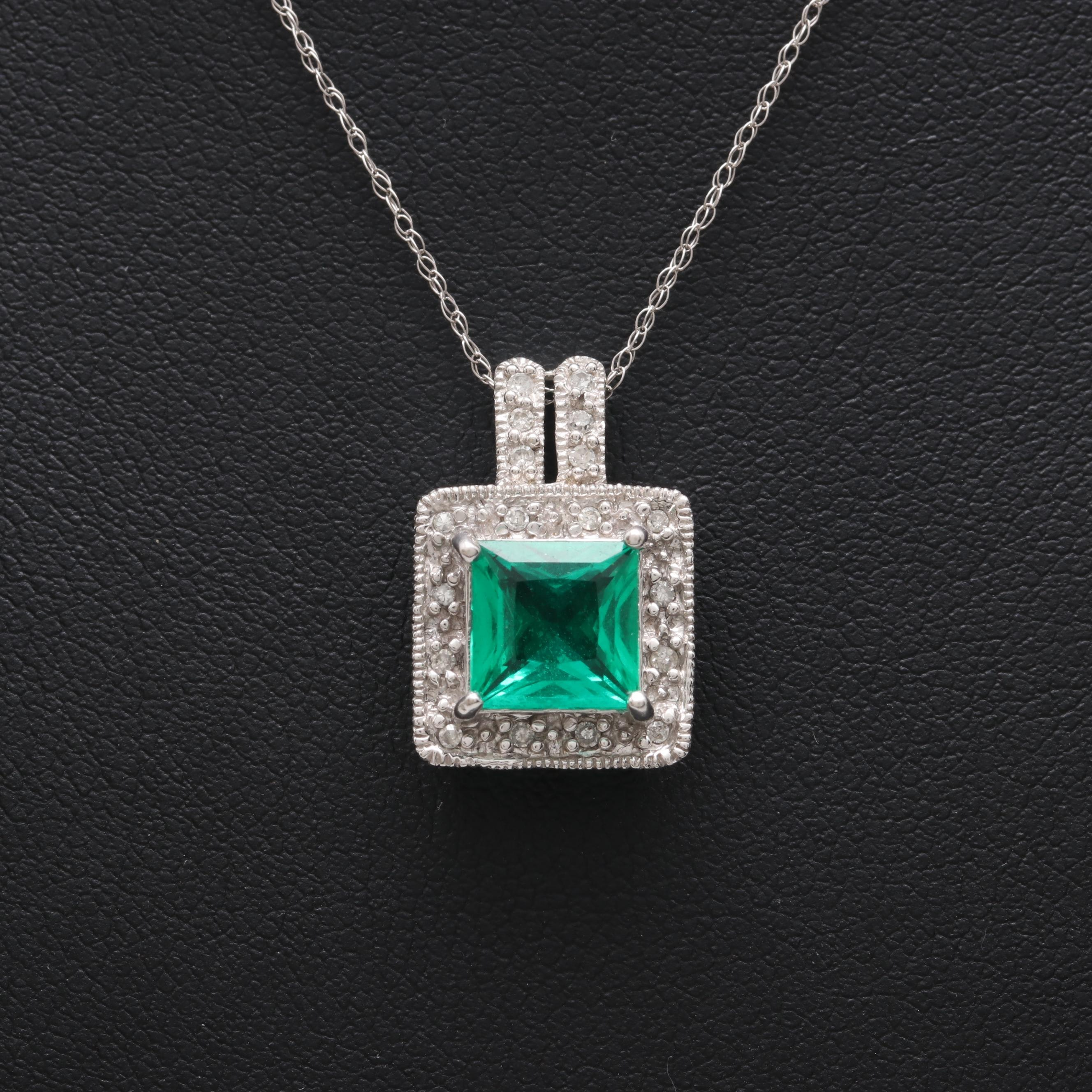 10K and 14K White Gold Synthetic Emerald and Diamond Necklace