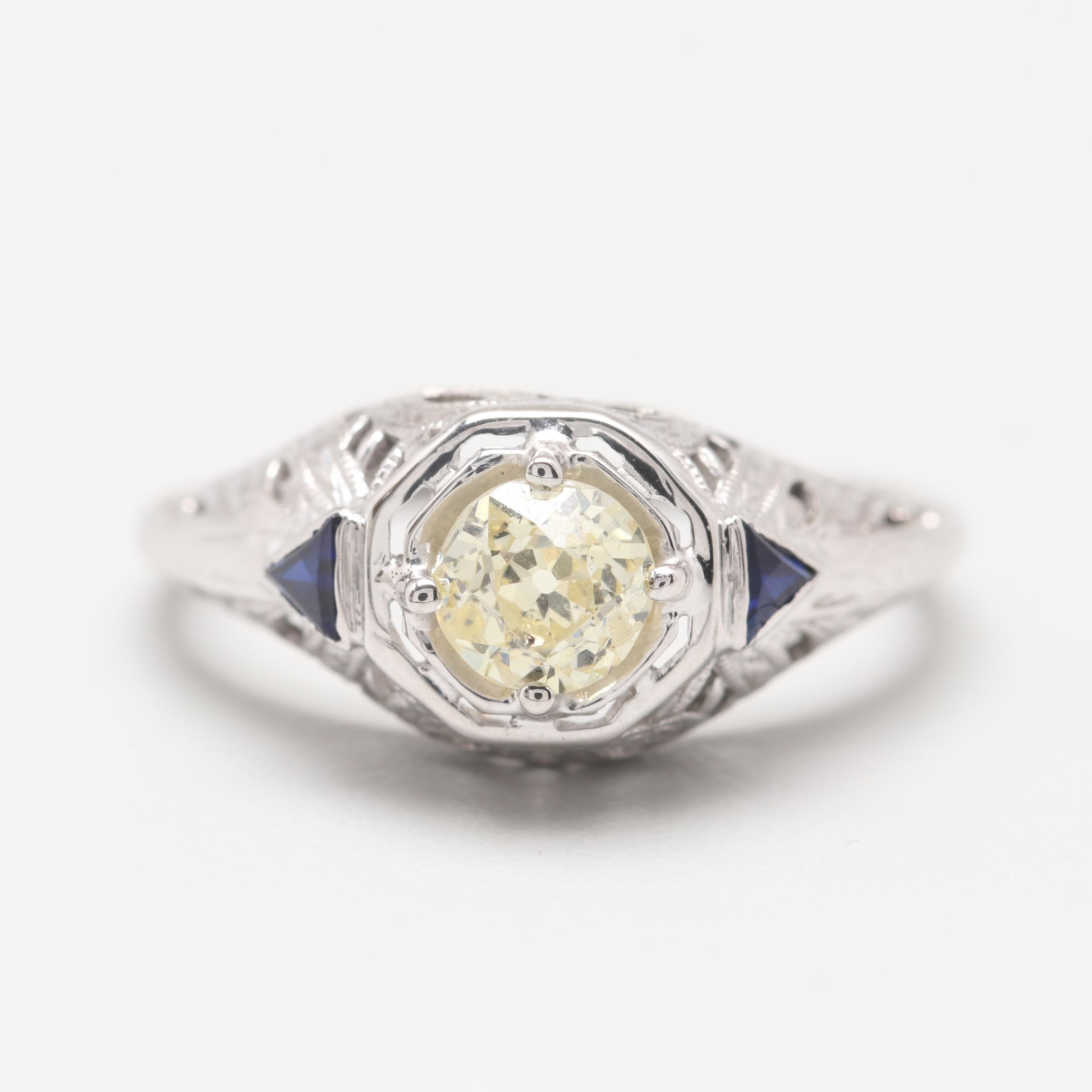 Circa 1920s 18K White Gold Diamond and Synthetic Blue Sapphire Ring