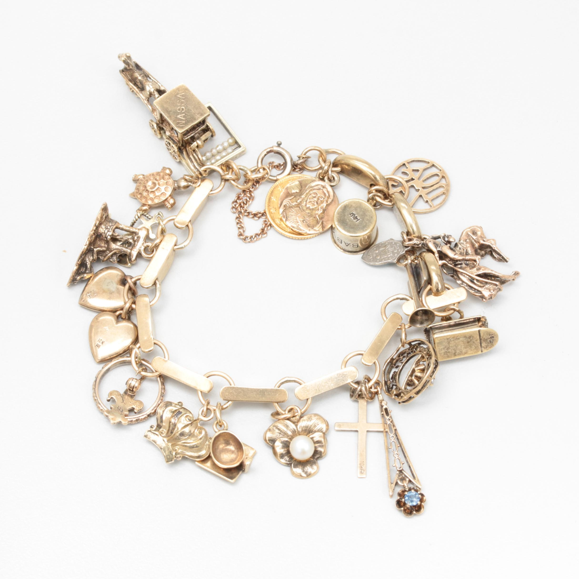 14K Yellow Gold Charm Bracelet with 10K, 14K and Sterling Charms and 1849 Coin