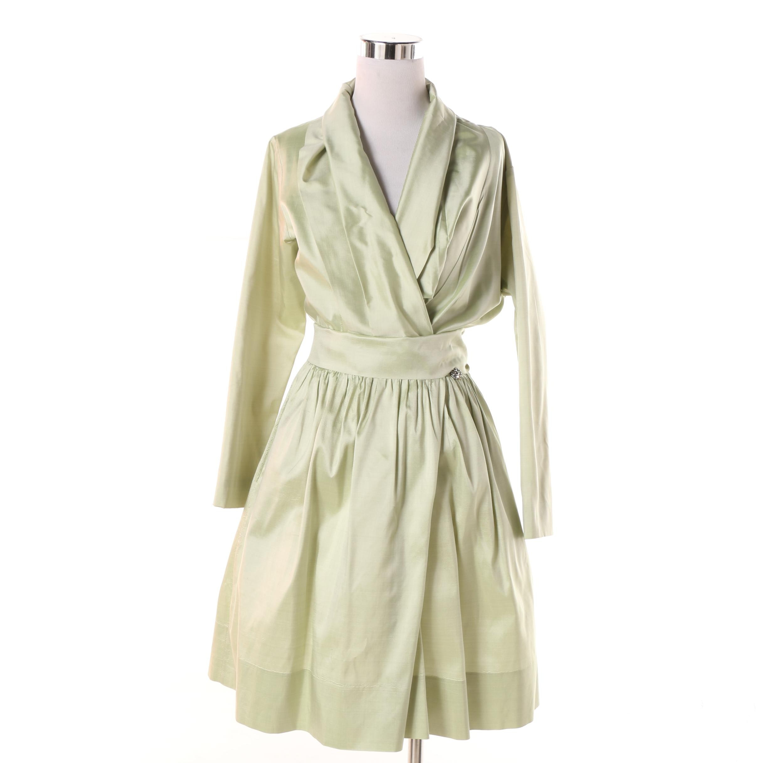 Catherine Regehr for Henri Bendel New York Pale Green Silk Wrap Dress