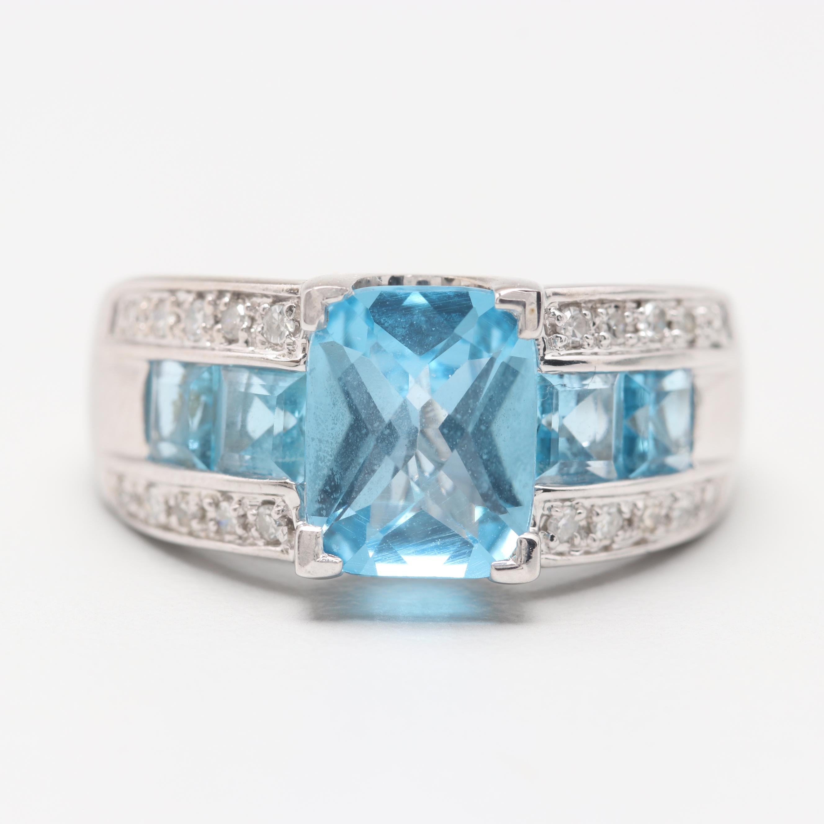 Alwand Vahan 14K White Gold Blue Topaz and Diamond Ring