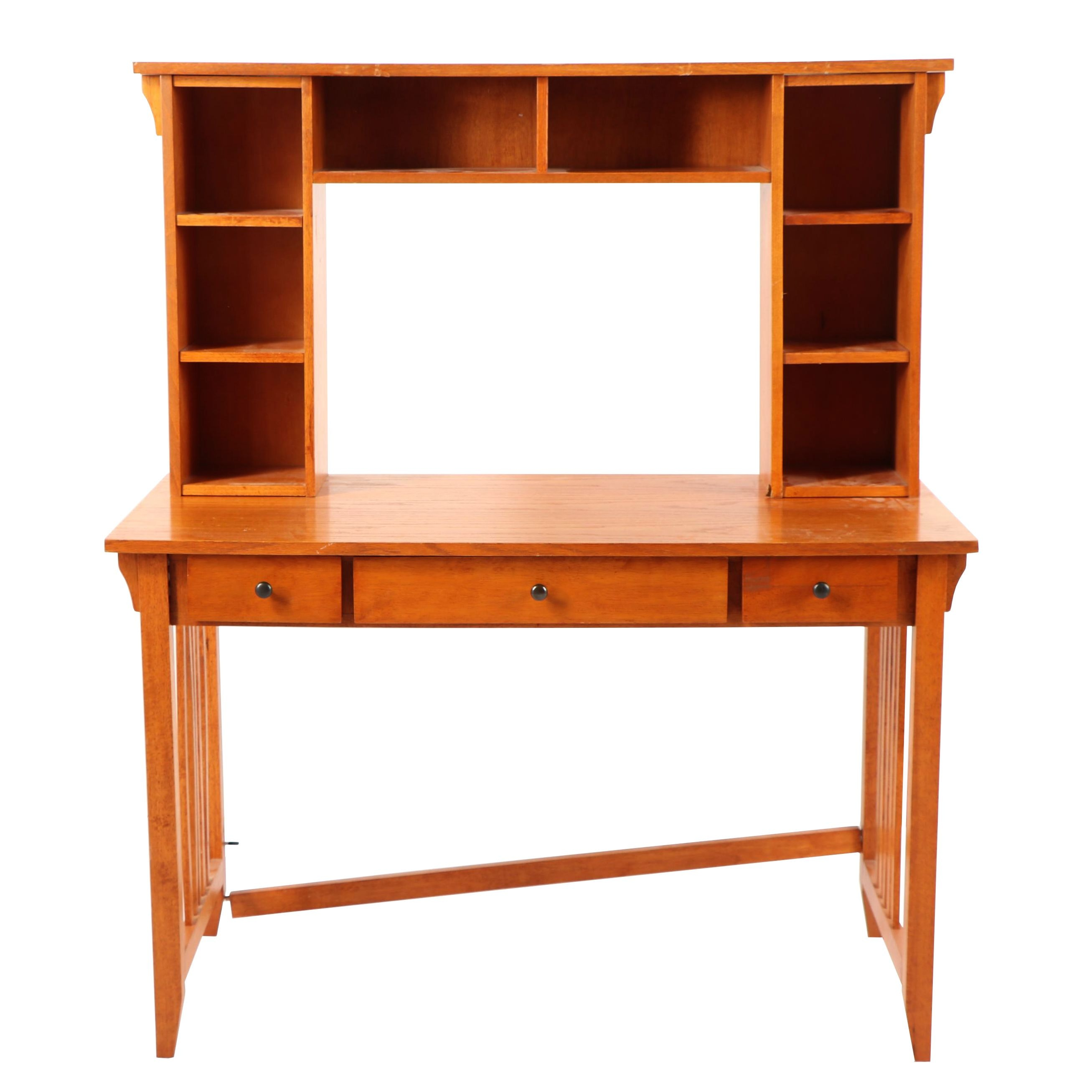 Mission Style Desk with Storage Hutch