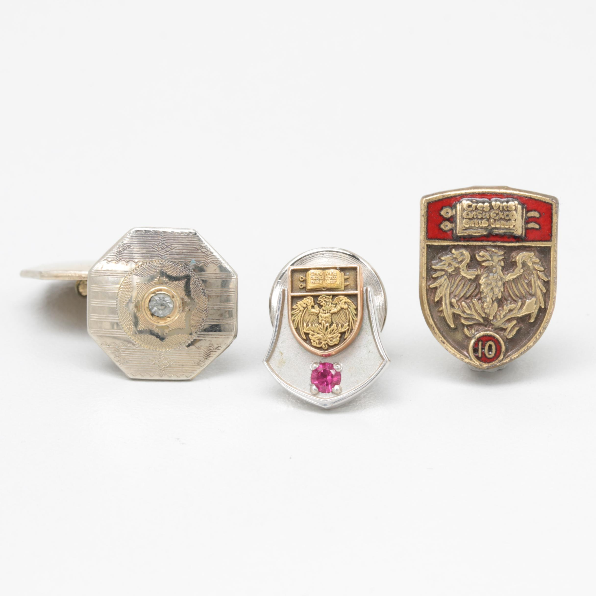 University of Chicago Lapel Pins and Cuff Link Including 10K Gold