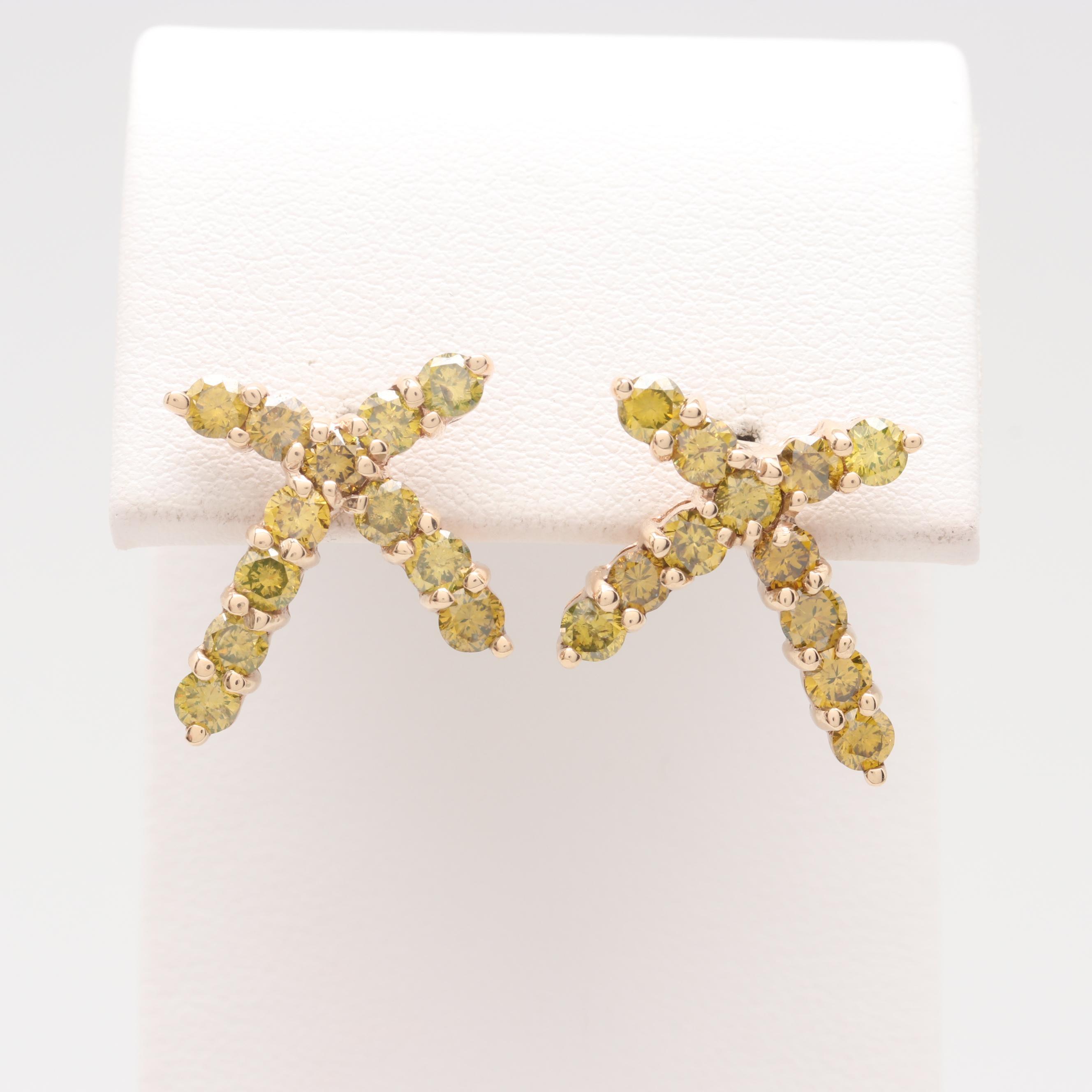 14K Yellow Gold 2.40 CTW Yellow Diamond Cross Earrings