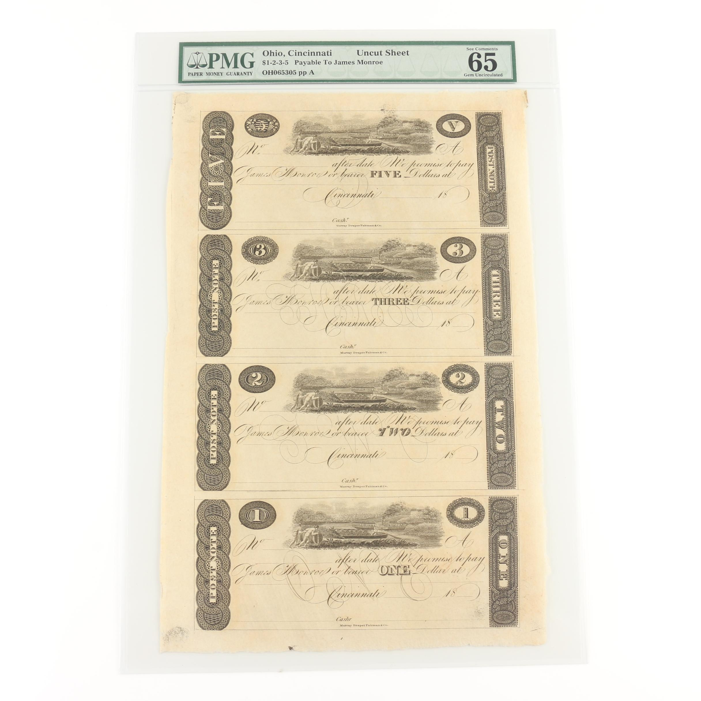 PMG Graded Obsolete Currency Notes Payable to James Monroe