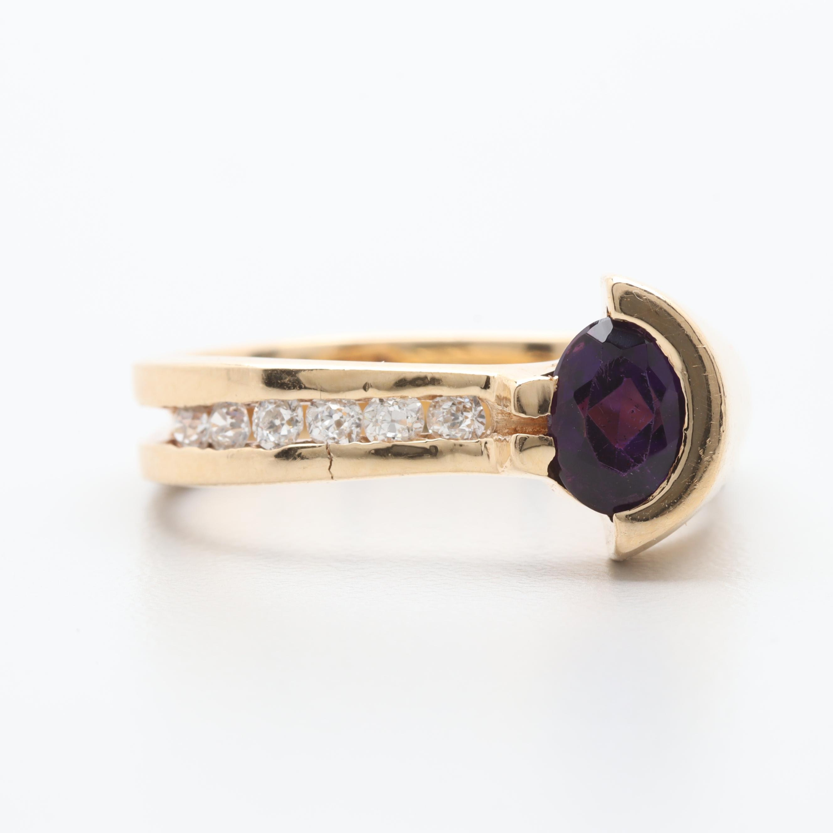 Contemporary 14K Yellow Gold Amethyst and Diamond Ring