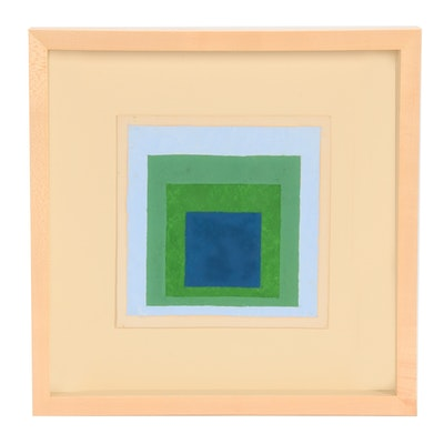 "Josef Albers Oil Painting ""Study for a Homage to the Square"""
