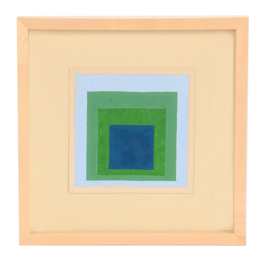 """Josef Albers Oil Painting """"Study for a Homage to the Square"""""""
