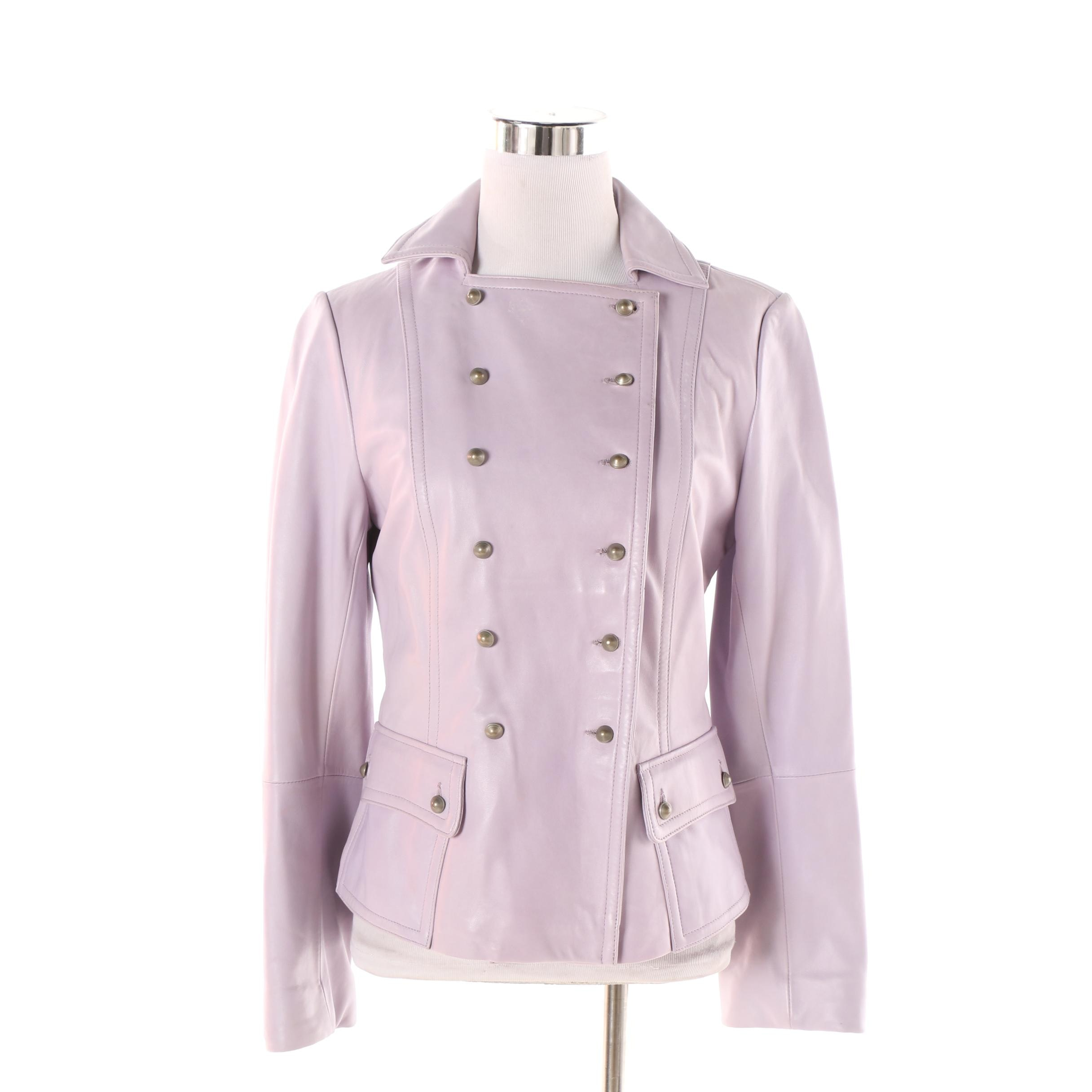 Women's Philippe Adec Double-Breasted Lavender Leather Jacket