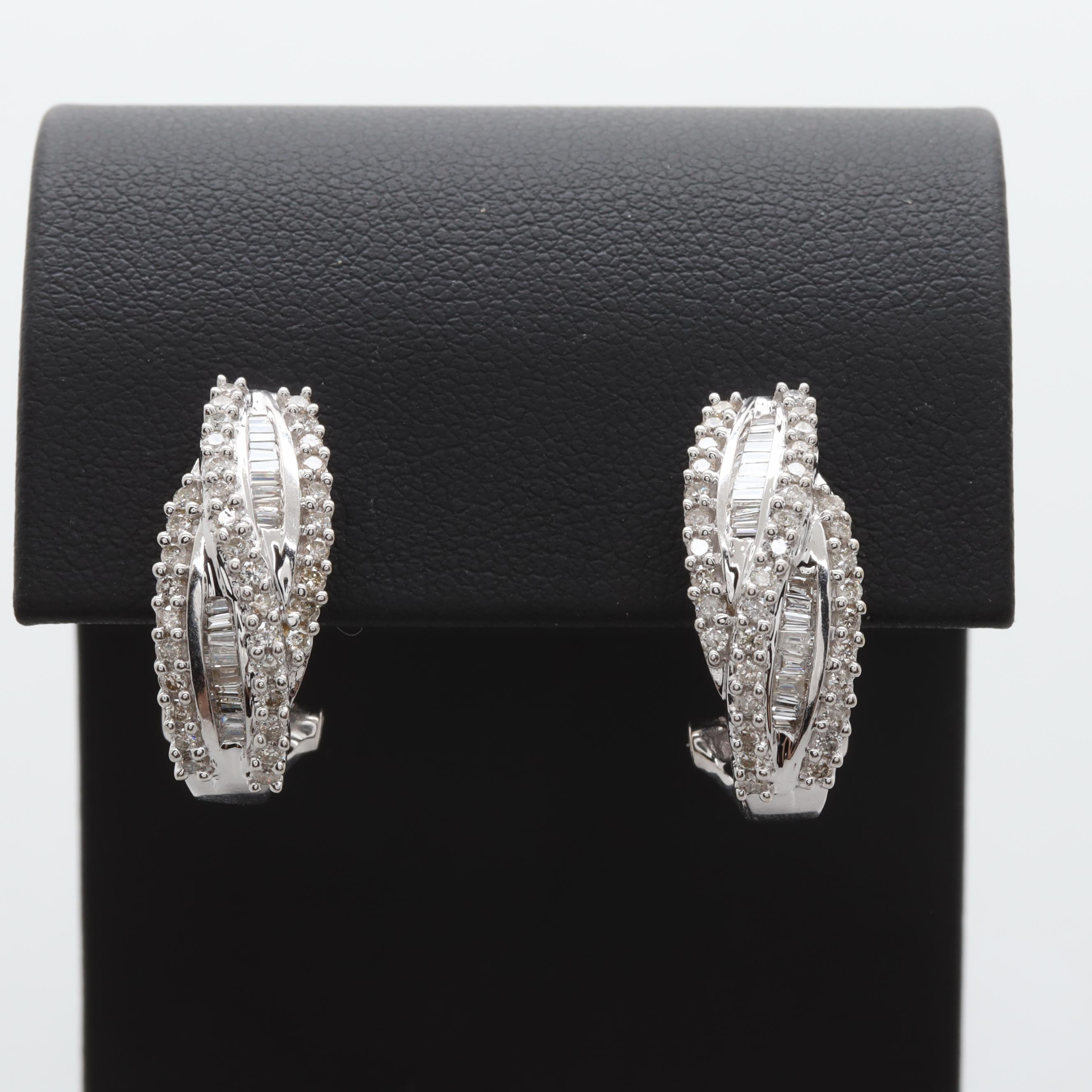 14K White Gold 1.10 CTW Diamond Earrings