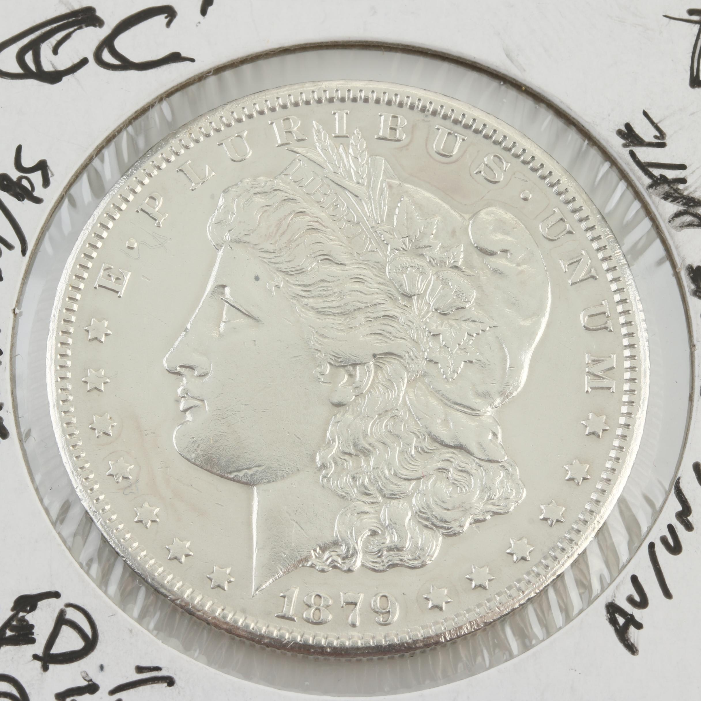 """Low Mintage 1879 Carson City Silver Morgan Dollar """"Capped Die"""" Variety"""