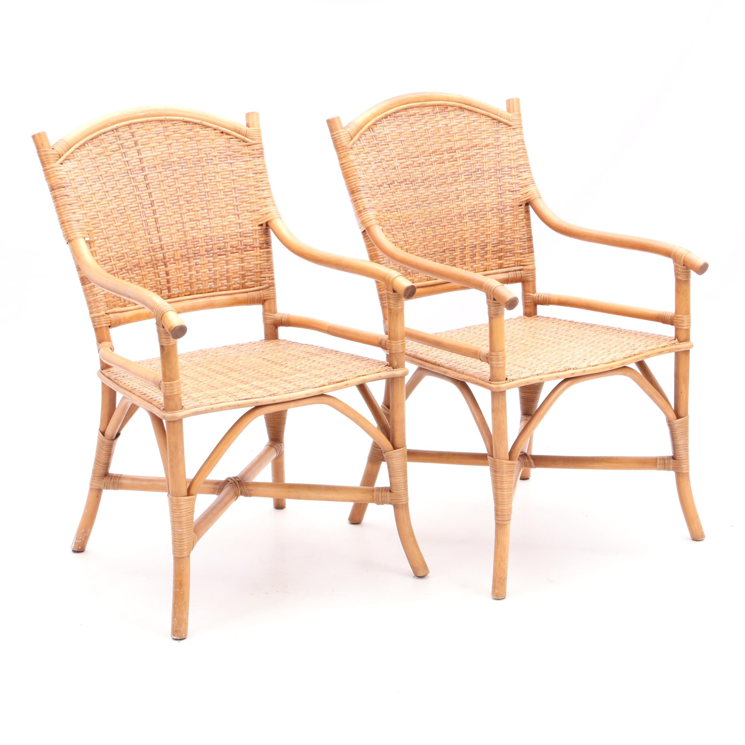 Two Woven Rattan Armchairs