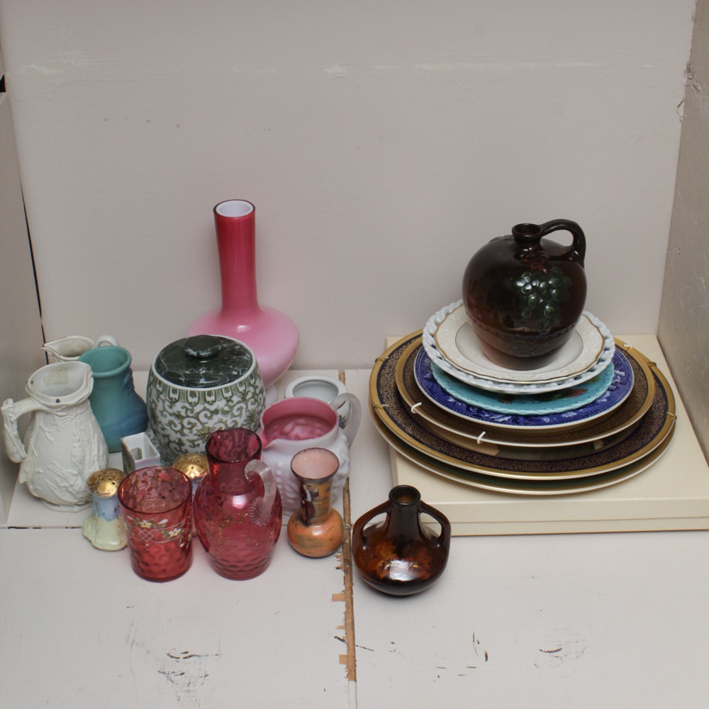 "Weller ""Floretta"" and Fostoria ""Coin Dot"" with Tableware and Vases"