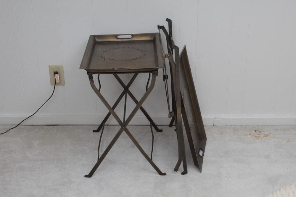 Ballard Designs Antiqued Brass Tray Tables