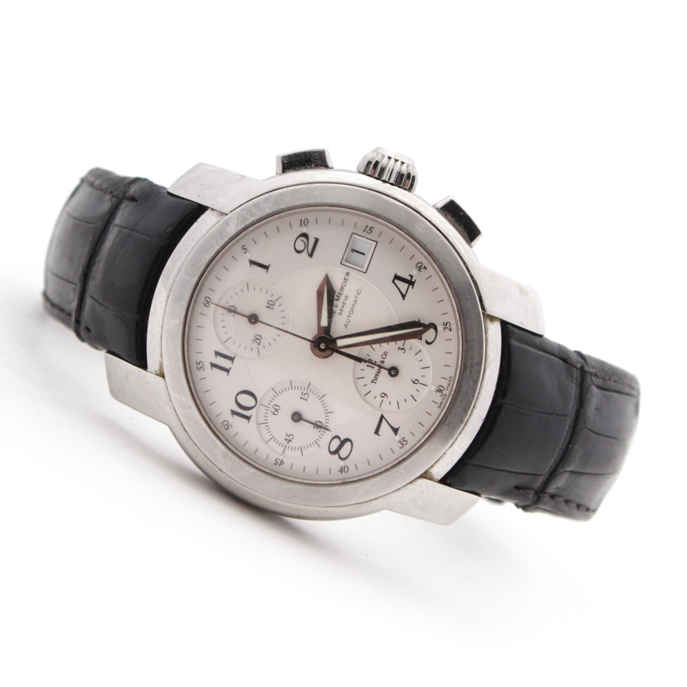 Baume & Mercier Geneve Stainless Steel and Leather Watch