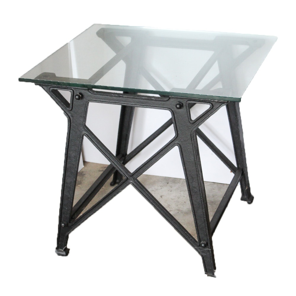 Industrial Style Glass Top Cast Iron Accent Table