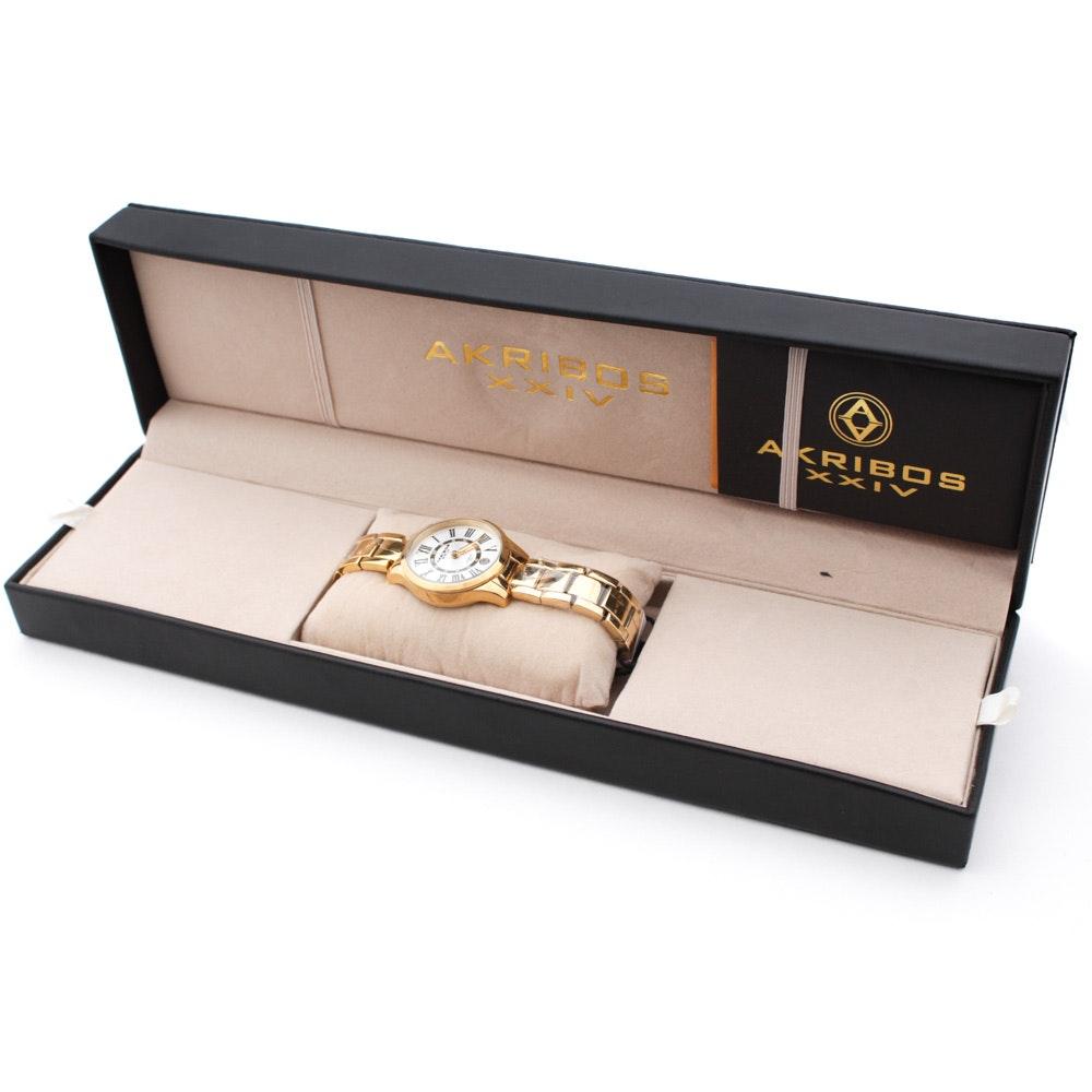 Akribos XXIV Gold Tone Stainless Steel Wristwatch