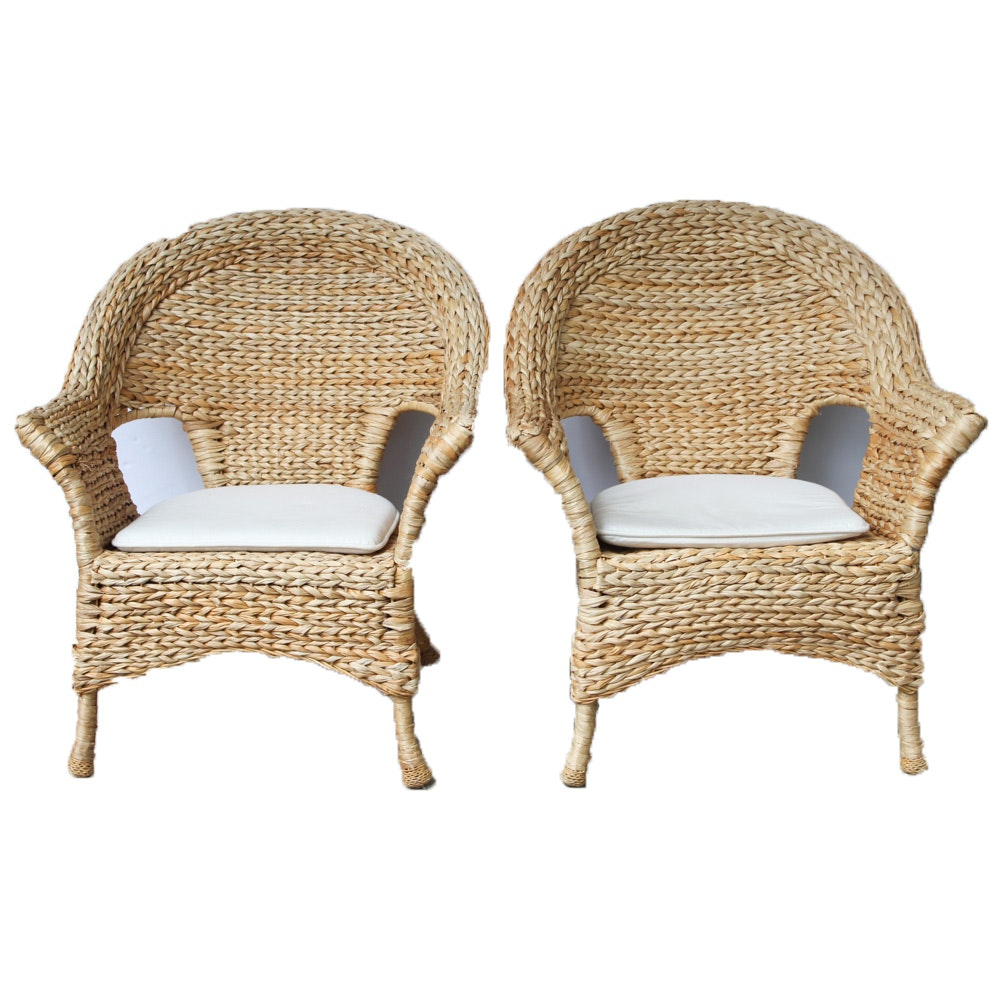 Woven Rush Patio Arm Chairs