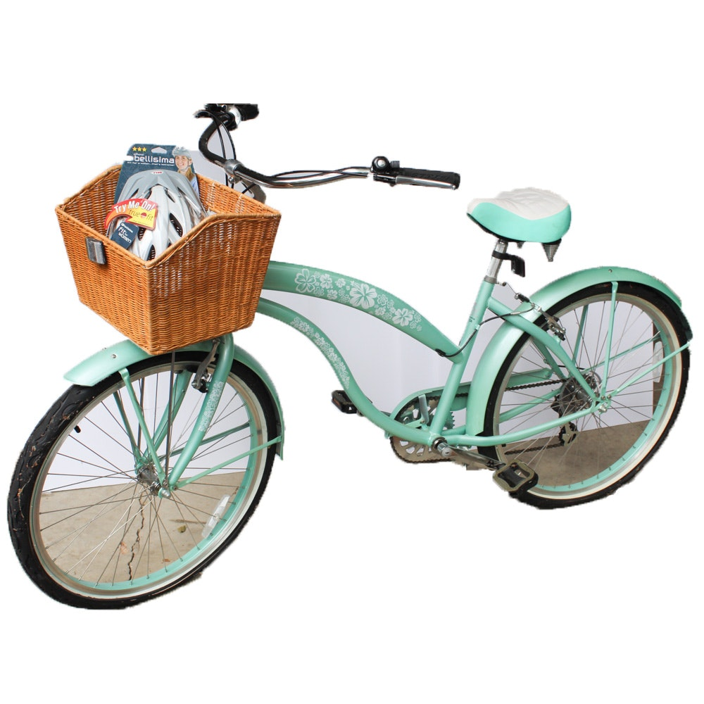 """Greenline Bicycles 26"""" Mint Green Beach Cruiser With Basket and Helmet"""