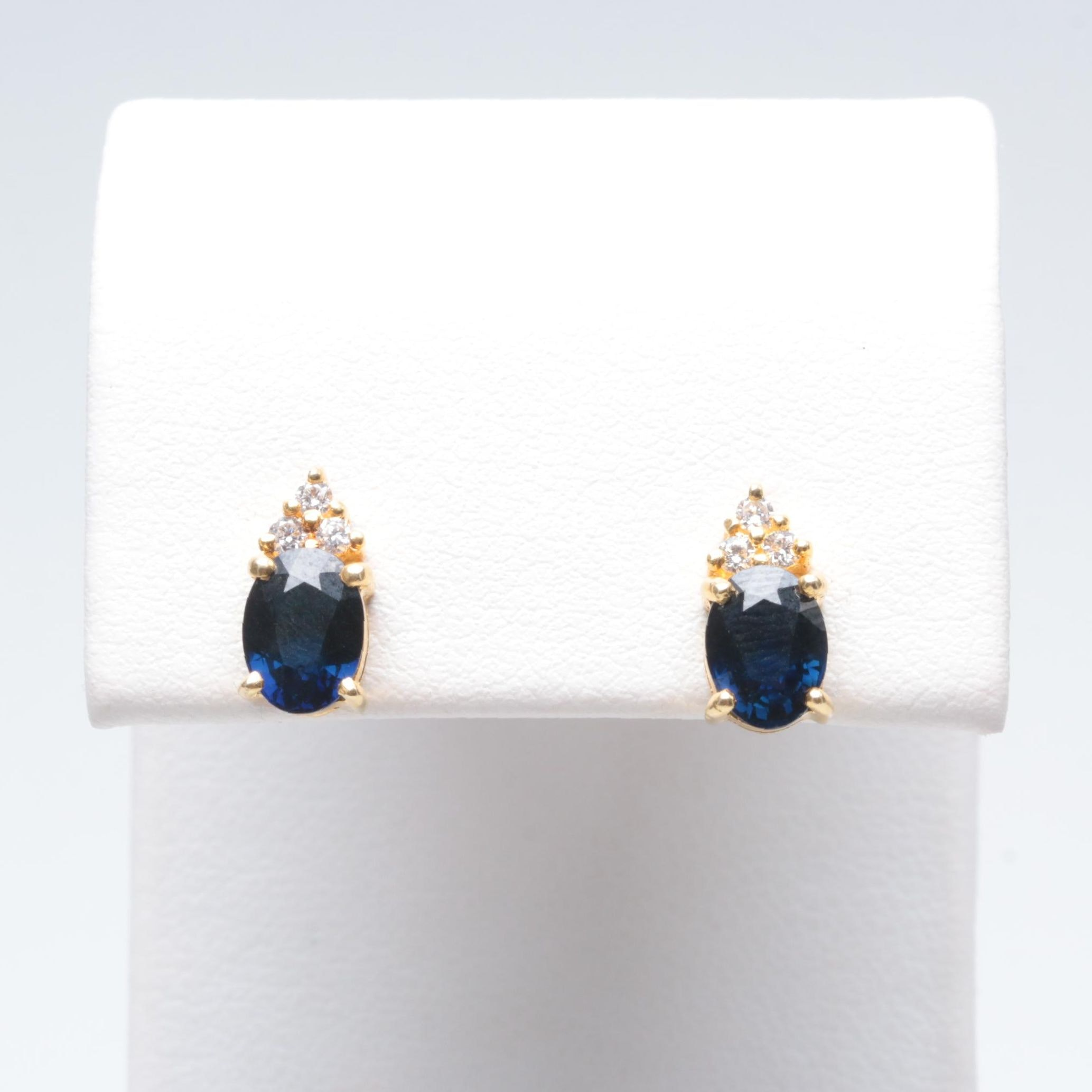 18K and 14K Yellow Gold Sapphire and Diamond Earrings