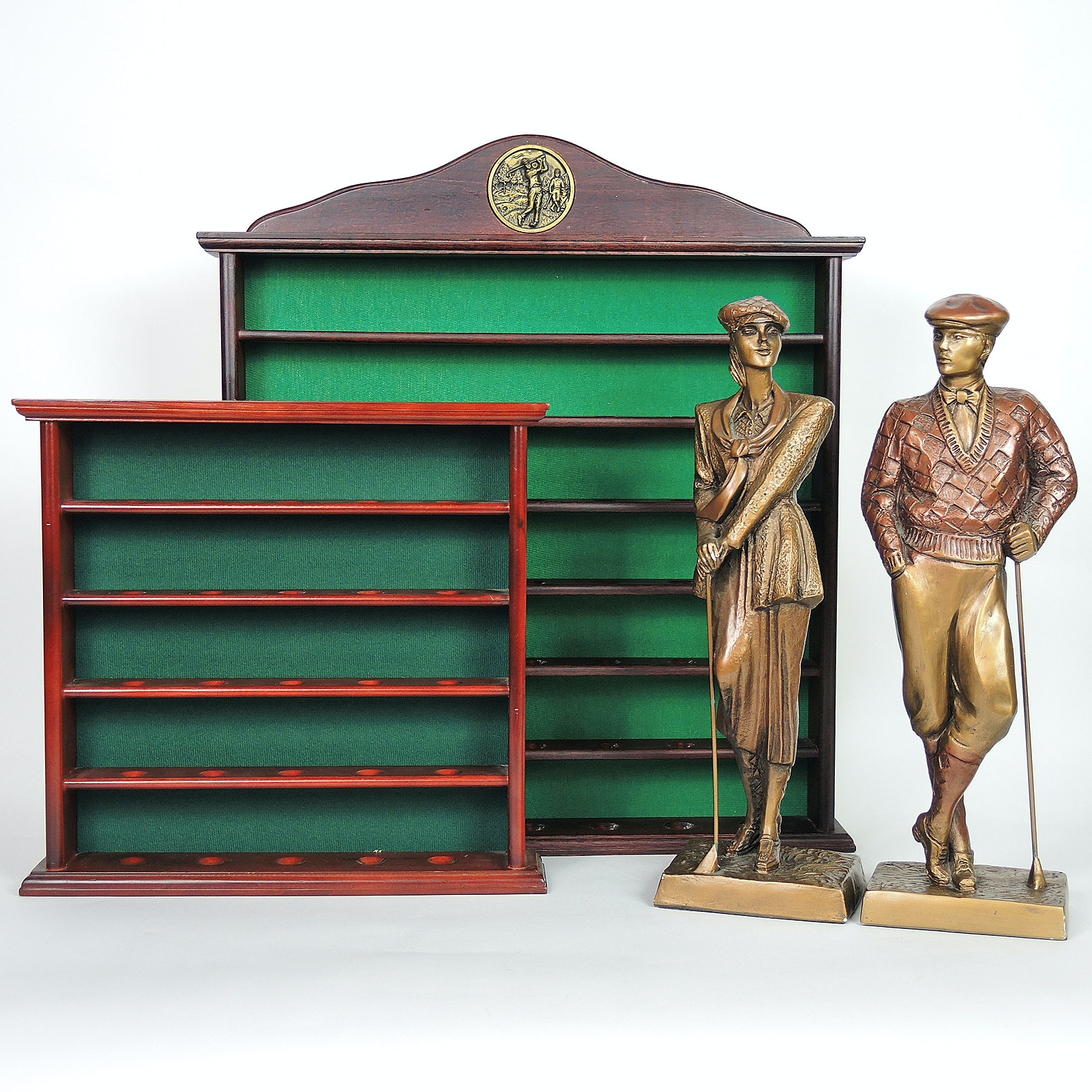 Wooden Golf Ball Display Shelves and Austin Productions Figurines