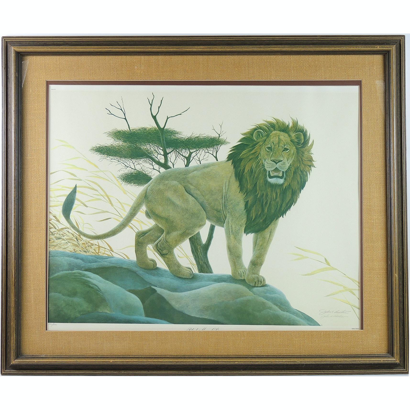 "John Ruthven Limited Edition Offset Lithograph ""Black Maned Lion"""